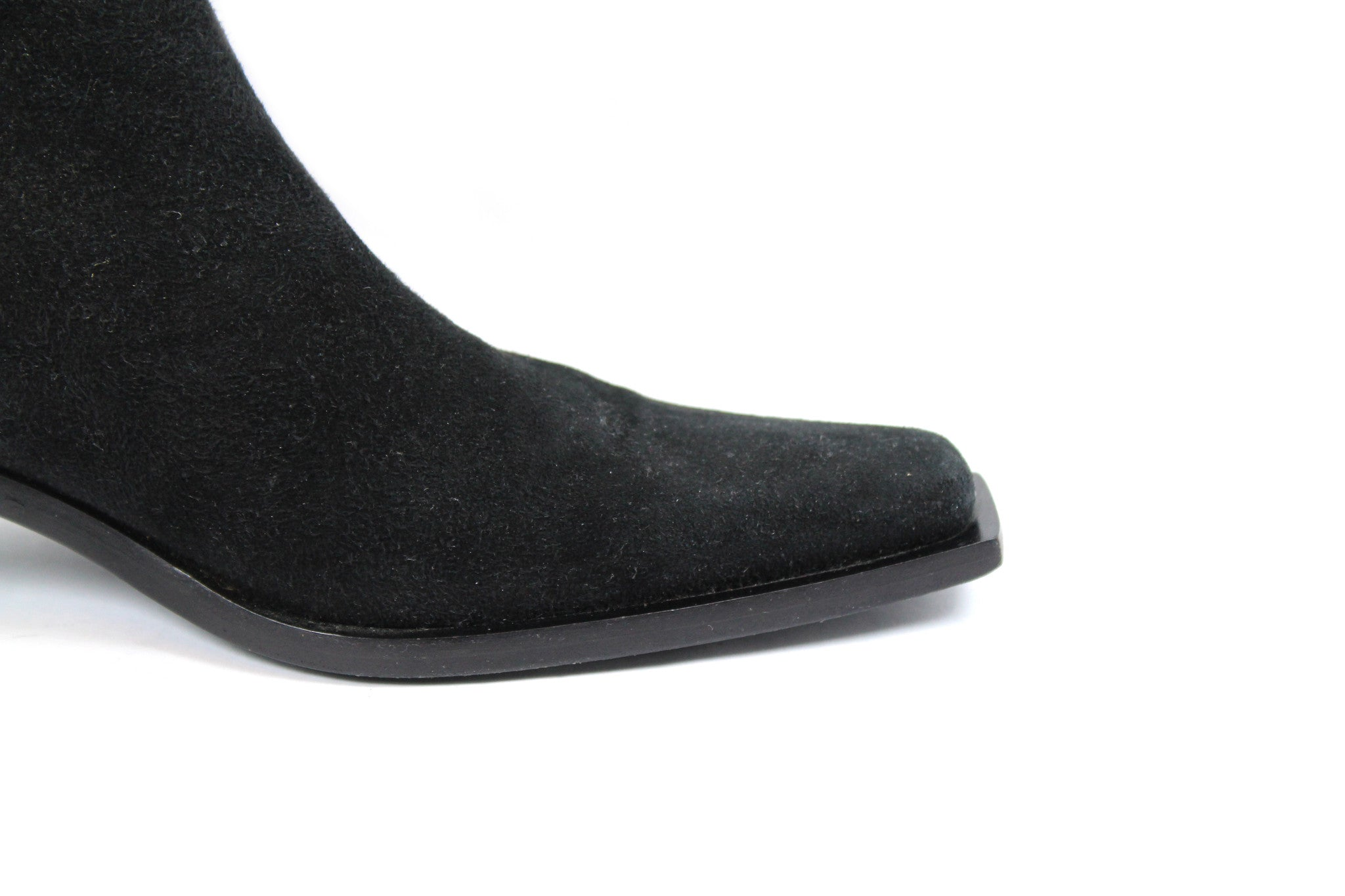 'SOLD' Ann Demeulemeester Suede Ankle Boots w Slanted Heel (Size 37) - Encore Consignment - 7