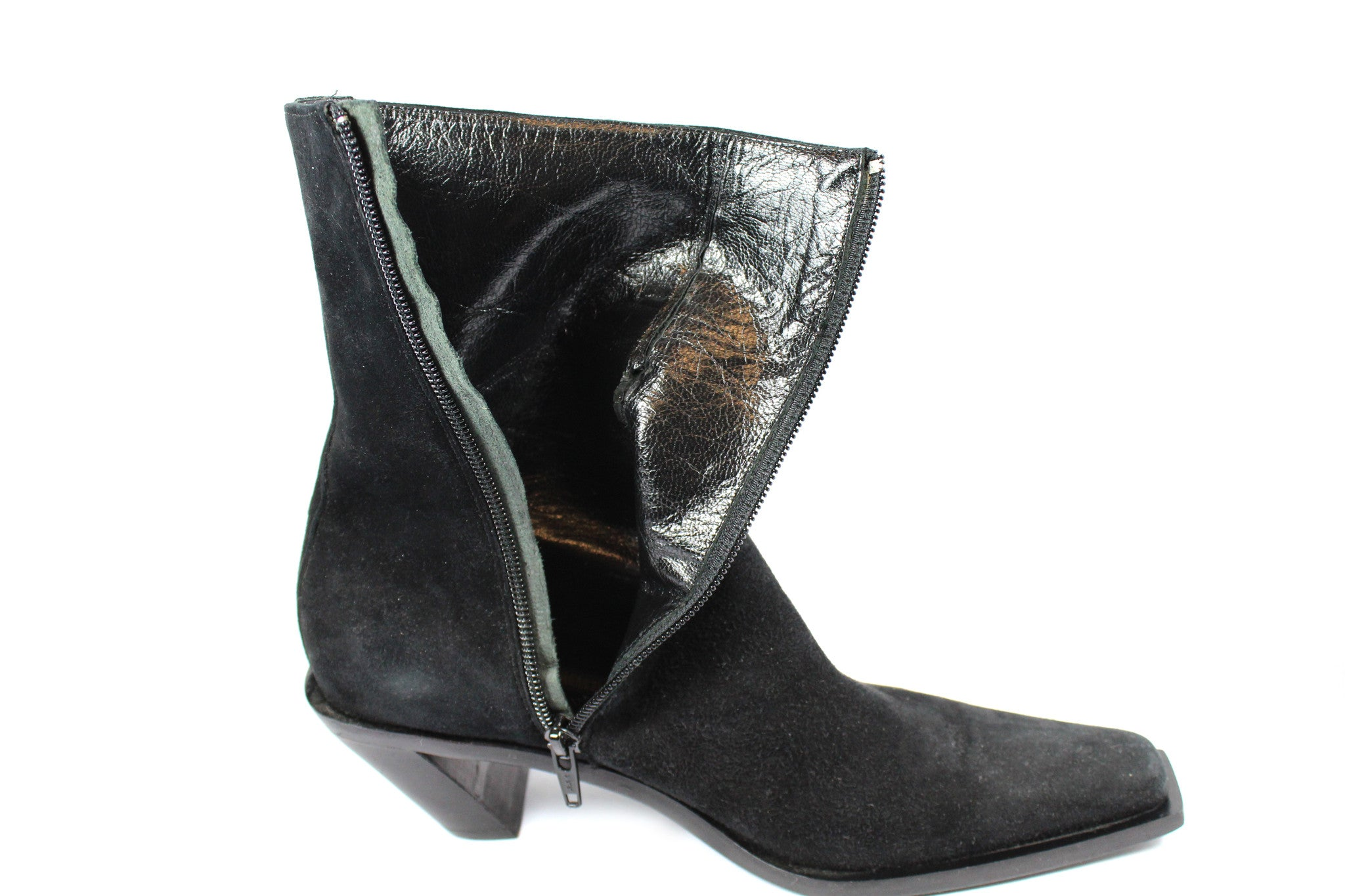 'SOLD' Ann Demeulemeester Suede Ankle Boots w Slanted Heel (Size 37) - Encore Consignment - 9