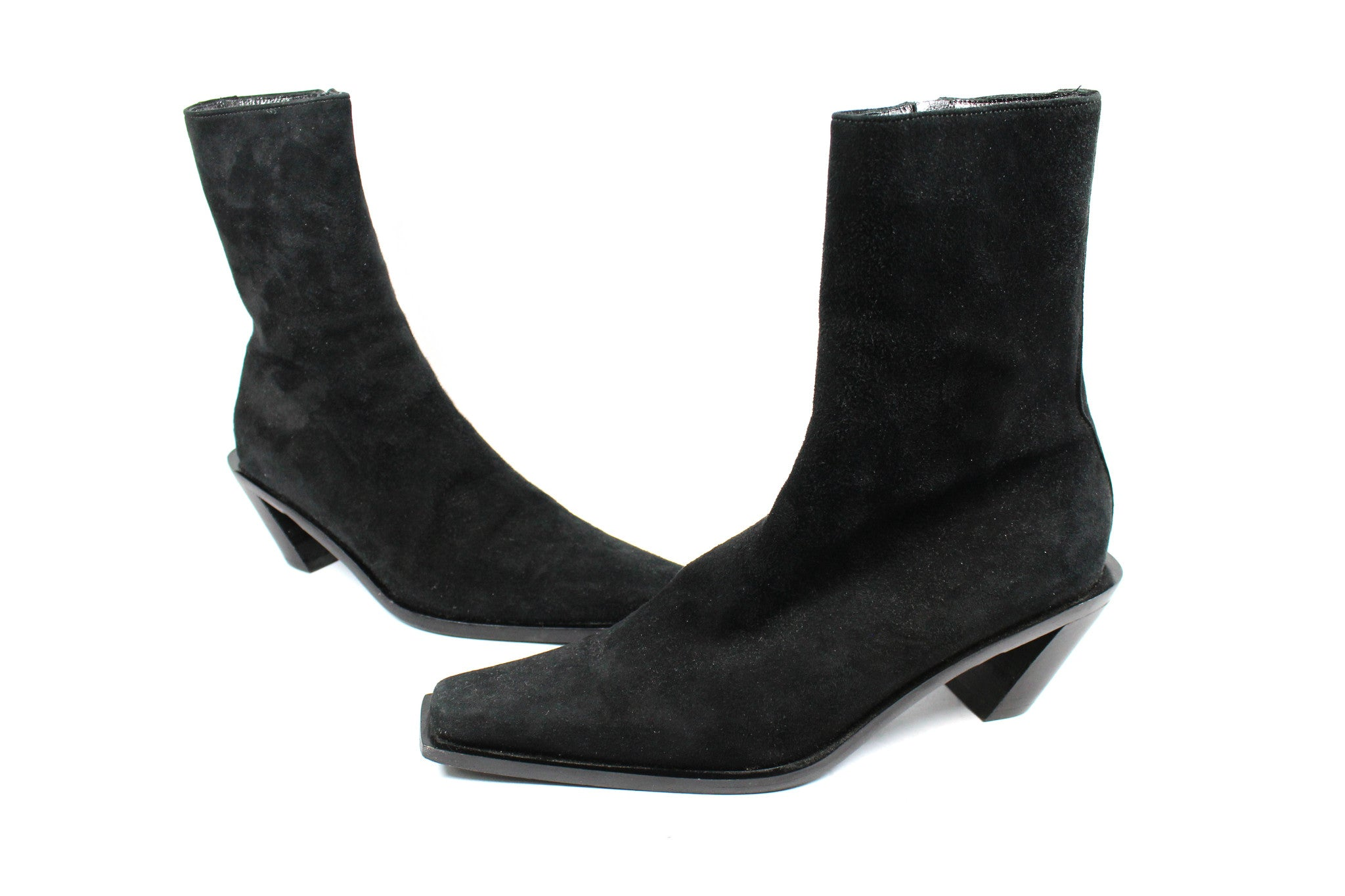 'SOLD' Ann Demeulemeester Suede Ankle Boots w Slanted Heel (Size 37) - Encore Consignment - 2
