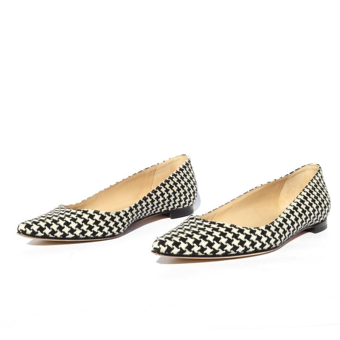 $645 MANOLO BLAHNIK BB Black White Houndstooth Fabric Pointed Toe Ballet Flats 39.5