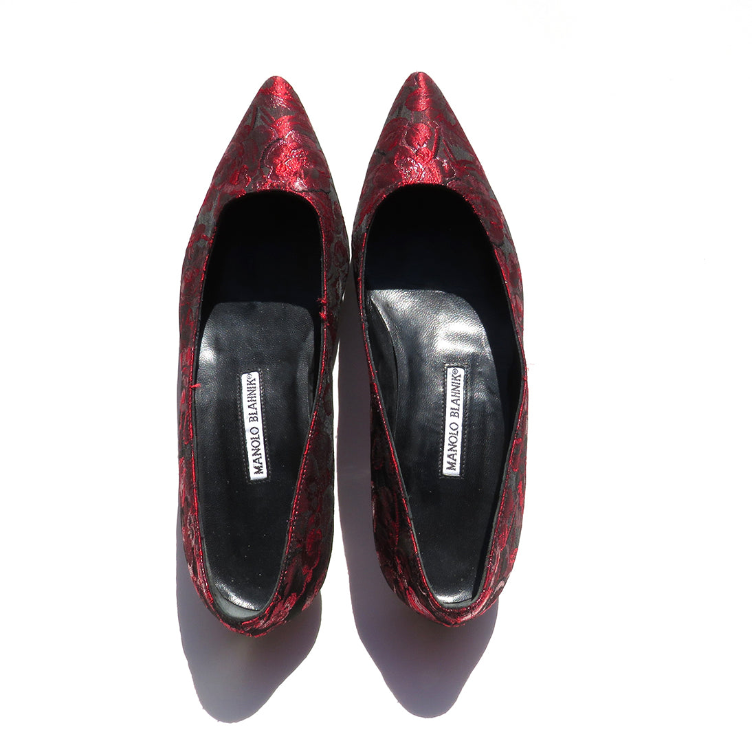 'Sold' MANOLO BLAHNIK Red Black Floral Brocade Fabric Pointed Toe Ballet Flats 39.5 GUC