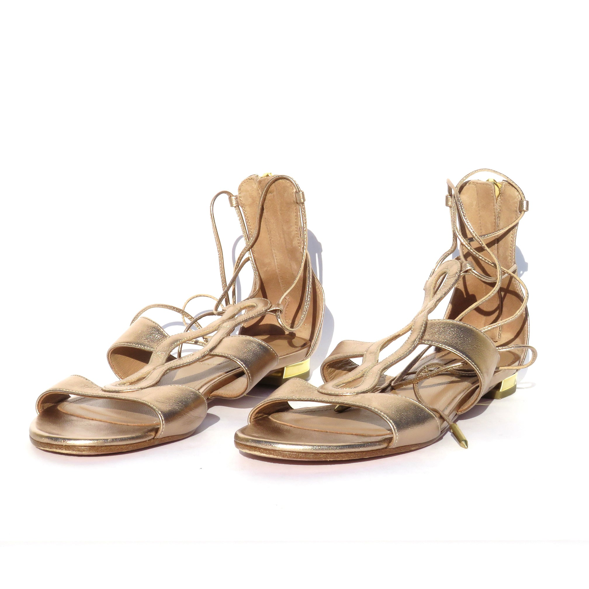 AQUAZZURA Metallic Gold Leather Flirt Lace Up Ankle Tie Flat Cage Sandals 36 GUC
