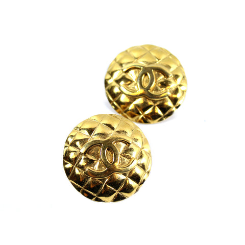 Chanel Gold Quilted CC Earrings - Encore Consignment - 1