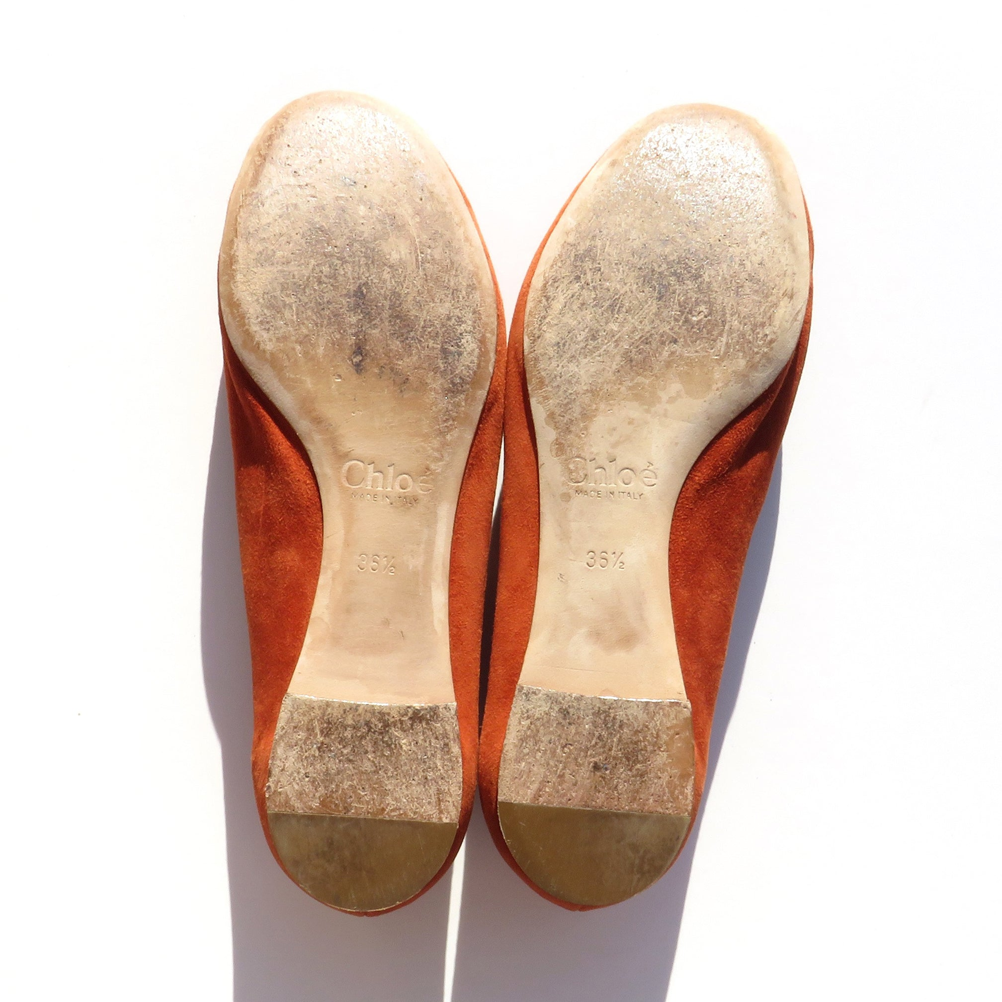 $570 CHLOE Lauren Sienna Rust Burnt Orange Suede Scalloped Ballet Flats 36.5 GUC