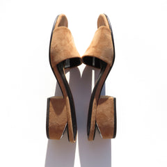 ALEXANDER WANG Lou Tan Light Brown Suede Cut Out Block Heel Slide Sandals 36 GC