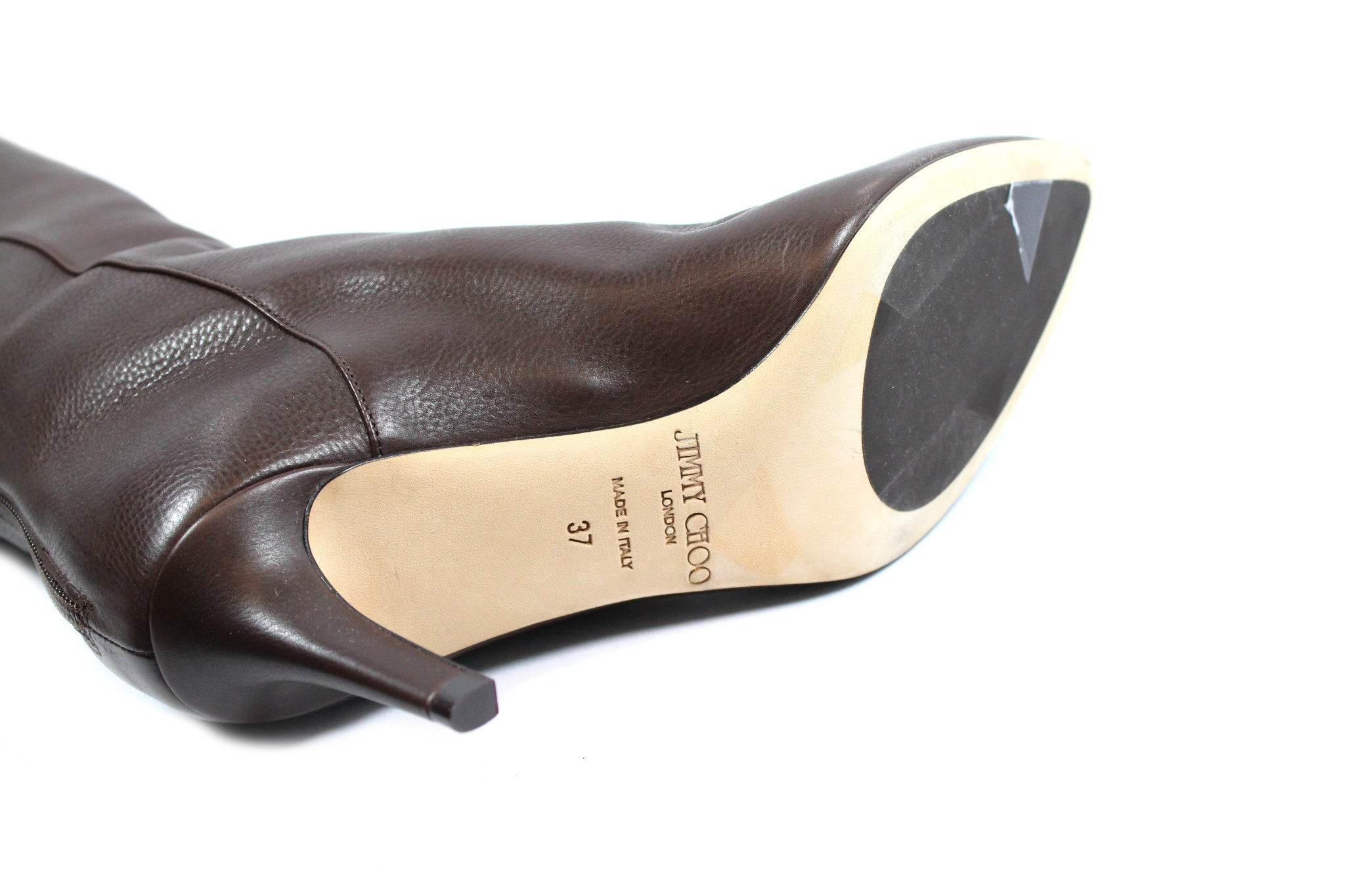 4c0f1fe027b Jimmy Choo Brown Leather Boots (Size 37) - Encore Consignment - 9
