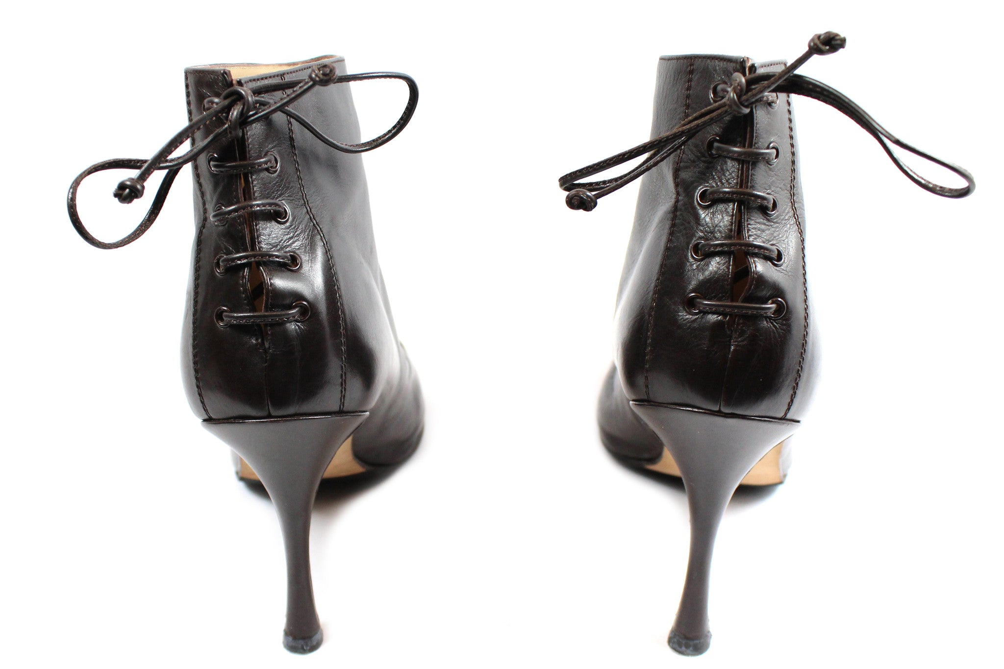 Manolo Blahnik Brown Leather Booties with Lace-Up Back (Size 41) - Encore Consignment - 3