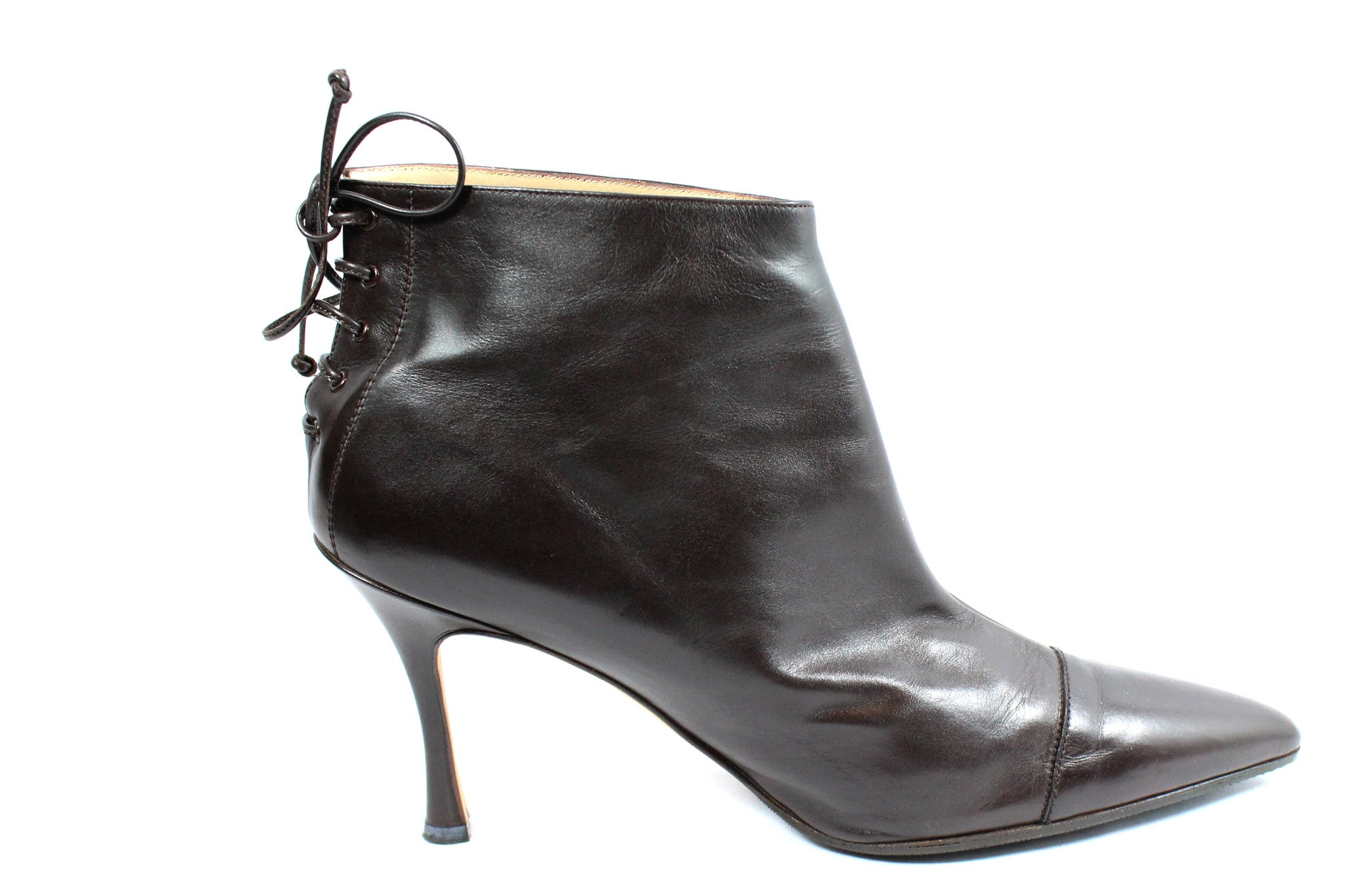 Manolo Blahnik Brown Leather Booties with Lace-Up Back (Size 41) - Encore Consignment - 4