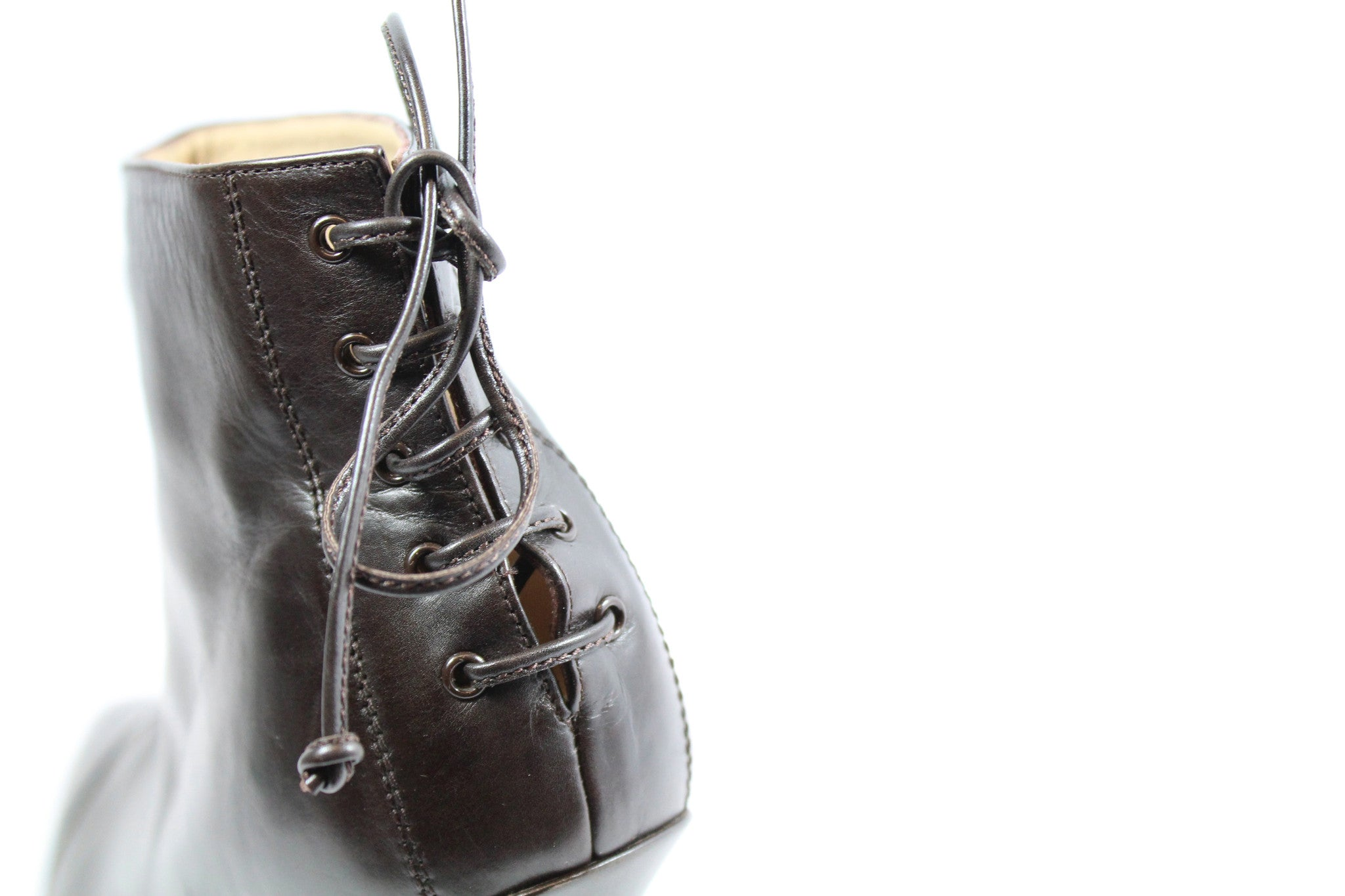 Manolo Blahnik Brown Leather Booties with Lace-Up Back (Size 41) - Encore Consignment - 6