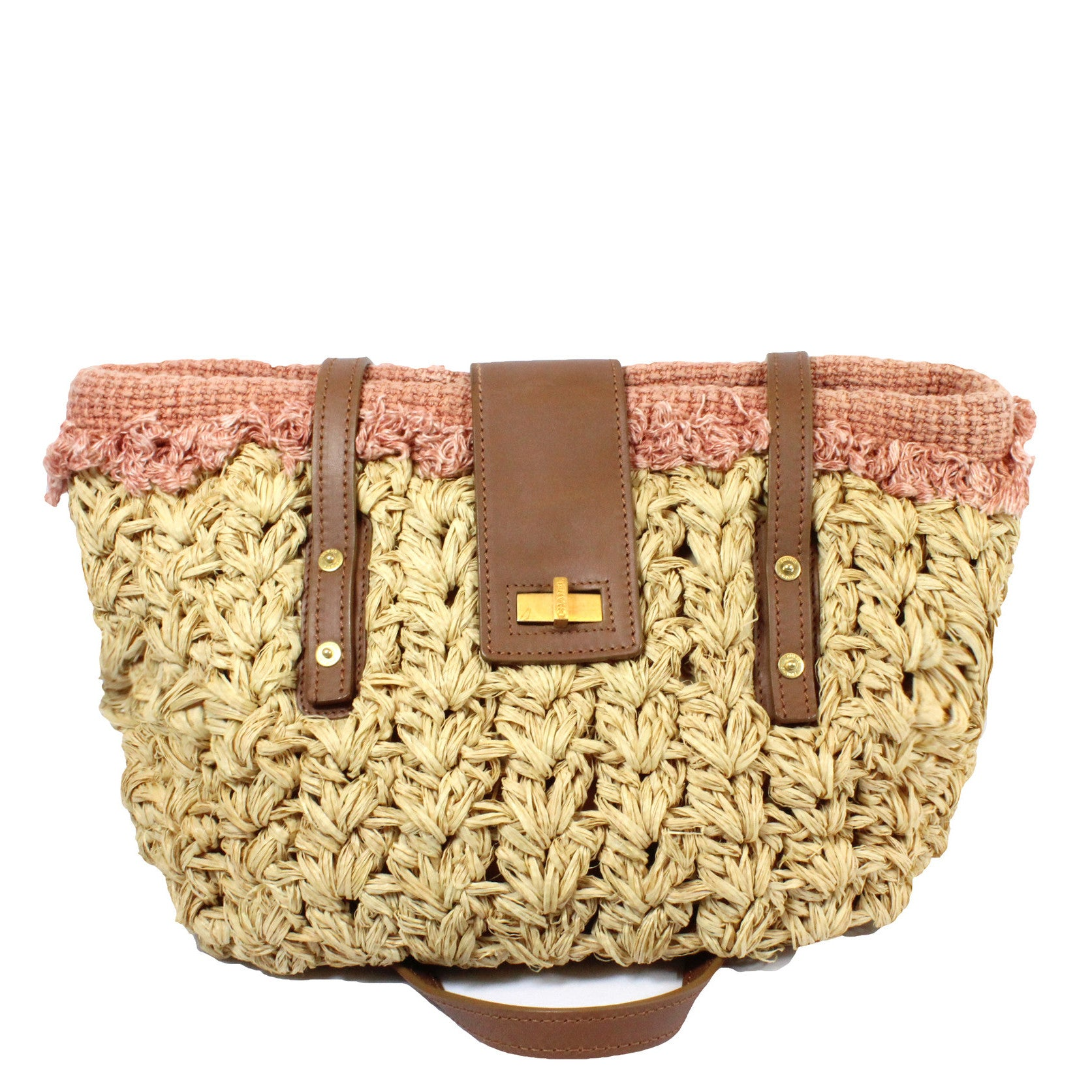 Chanel Large Woven Raffia Straw and Tweed Fringe Tote Bag - Encore Consignment - 15
