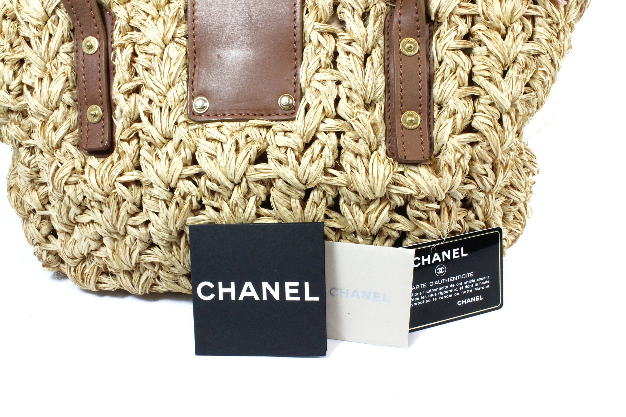 Chanel Large Woven Raffia Straw and Tweed Fringe Tote Bag - Encore Consignment - 14