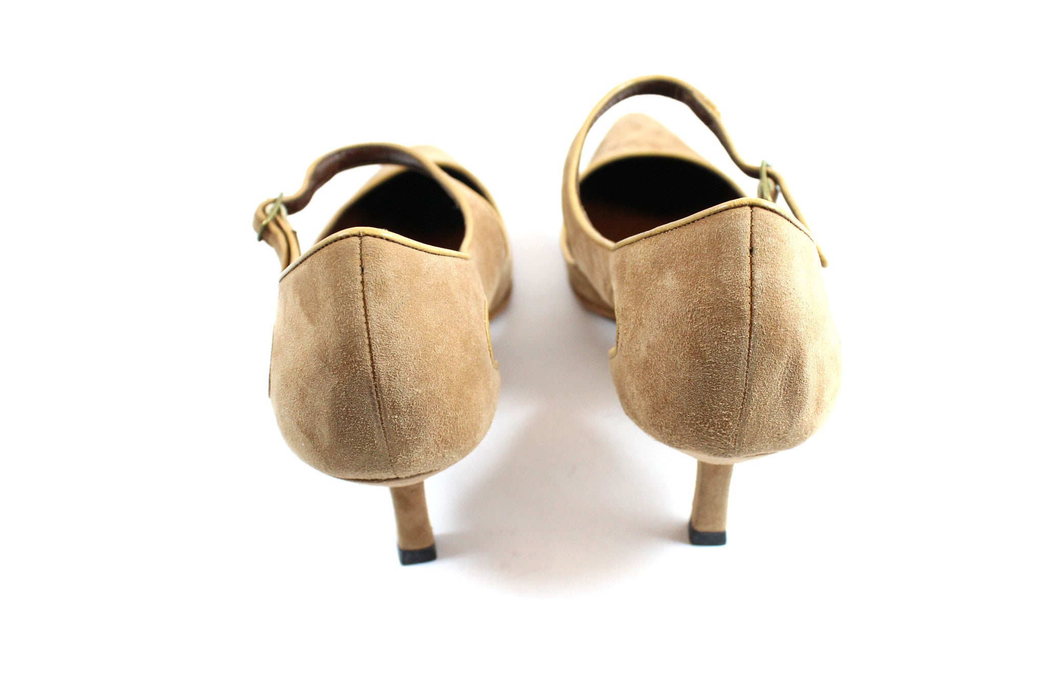 Manolo Blahnik Camel Suede Cut Out Mary Janes (Size 41) - Encore Consignment - 5