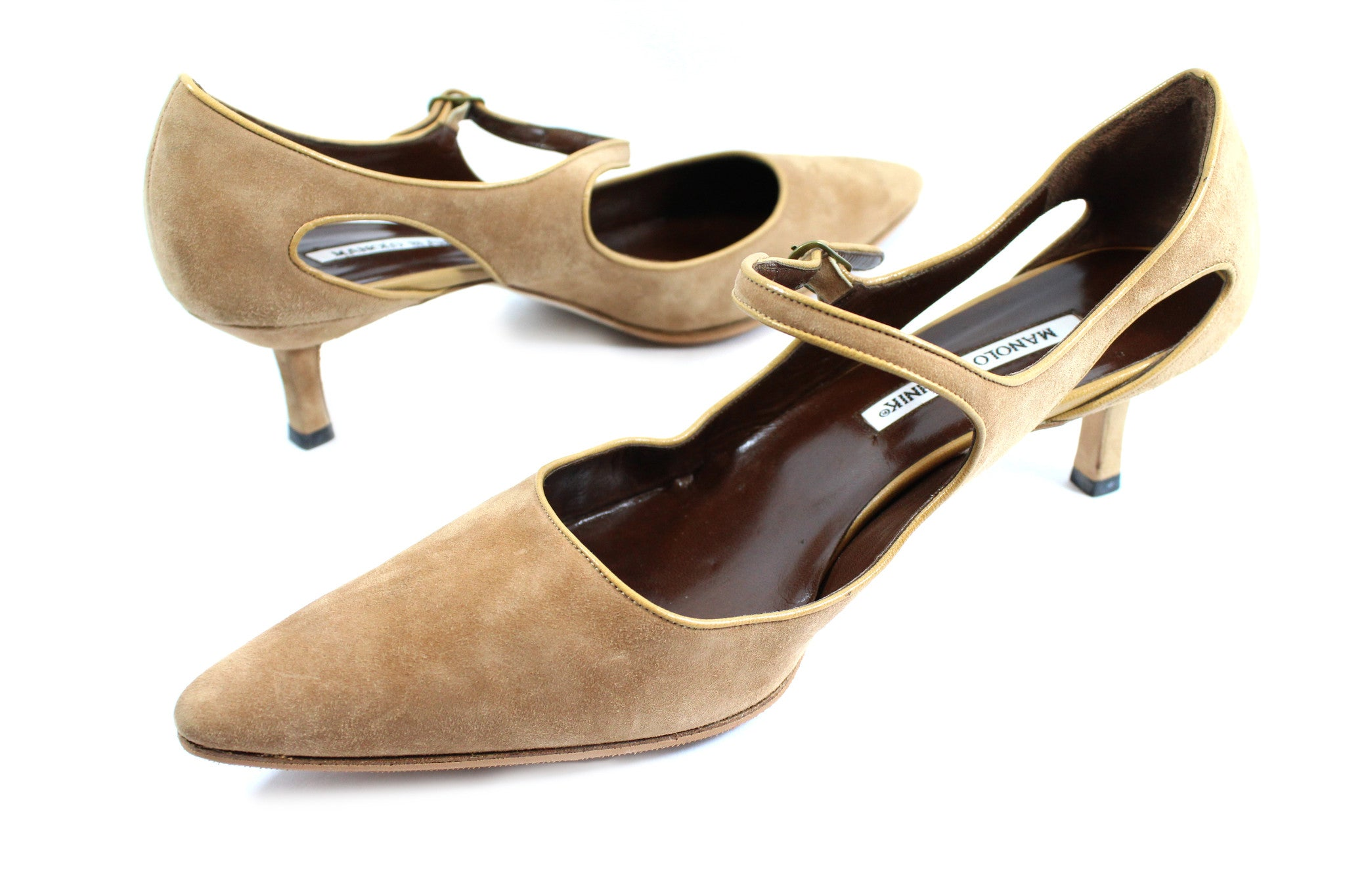 Manolo Blahnik Camel Suede Cut Out Mary Janes (Size 41) - Encore Consignment - 3