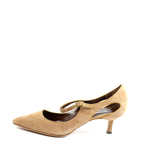 Manolo Blahnik Camel Suede Cut Out Mary Janes (Size 41) - Encore Consignment - 1