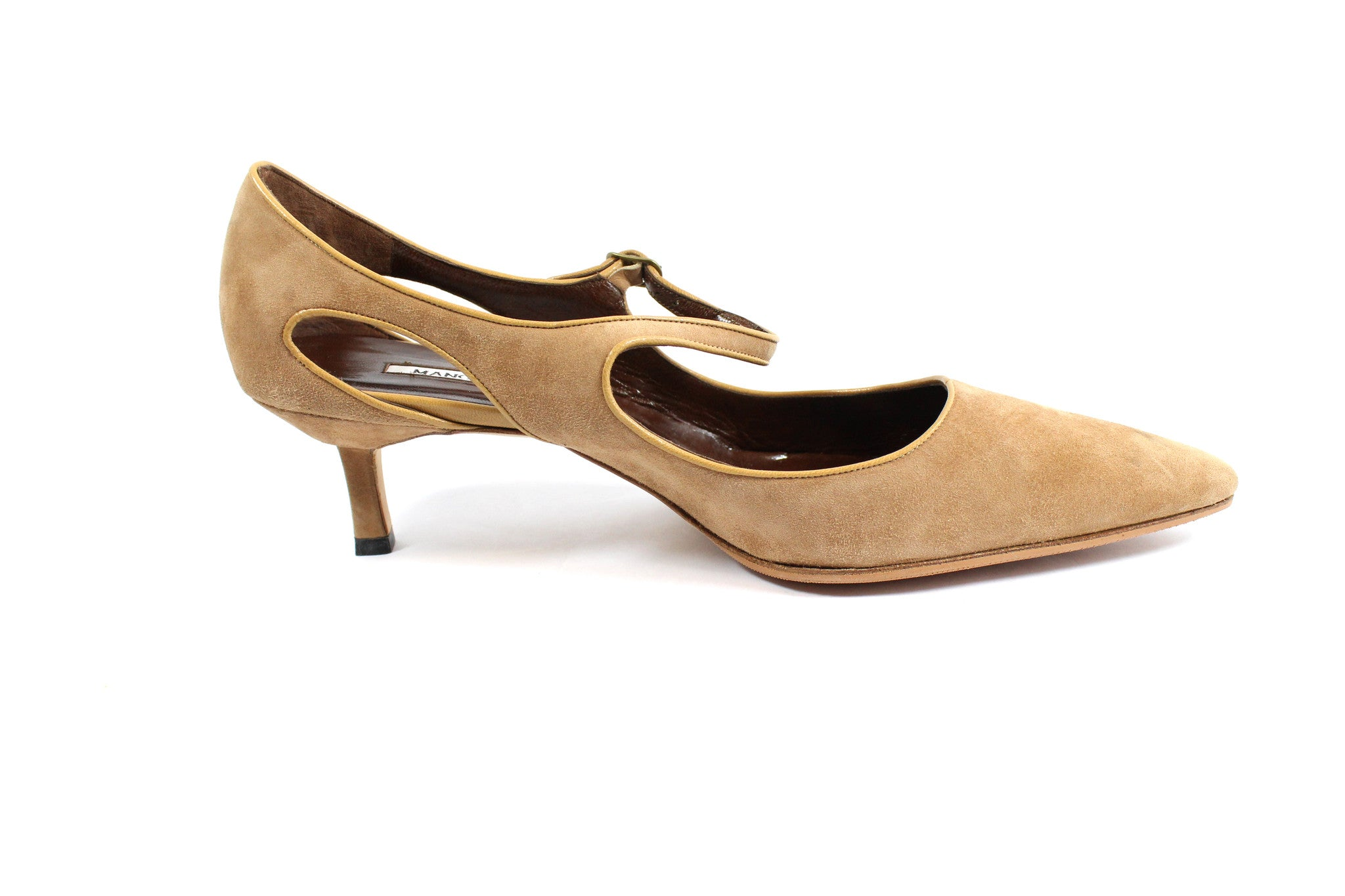 Manolo Blahnik Camel Suede Cut Out Mary Janes (Size 41) - Encore Consignment - 6