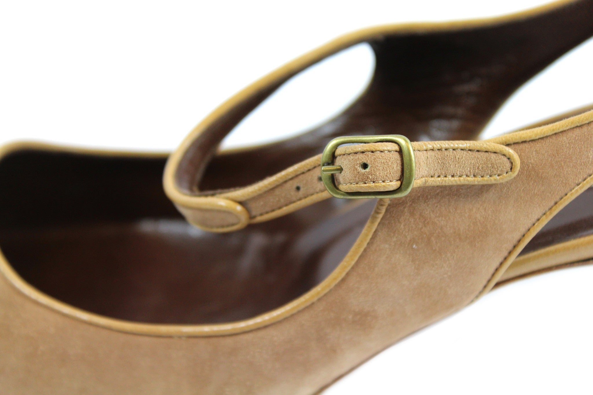 Manolo Blahnik Camel Suede Cut Out Mary Janes (Size 41) - Encore Consignment - 8