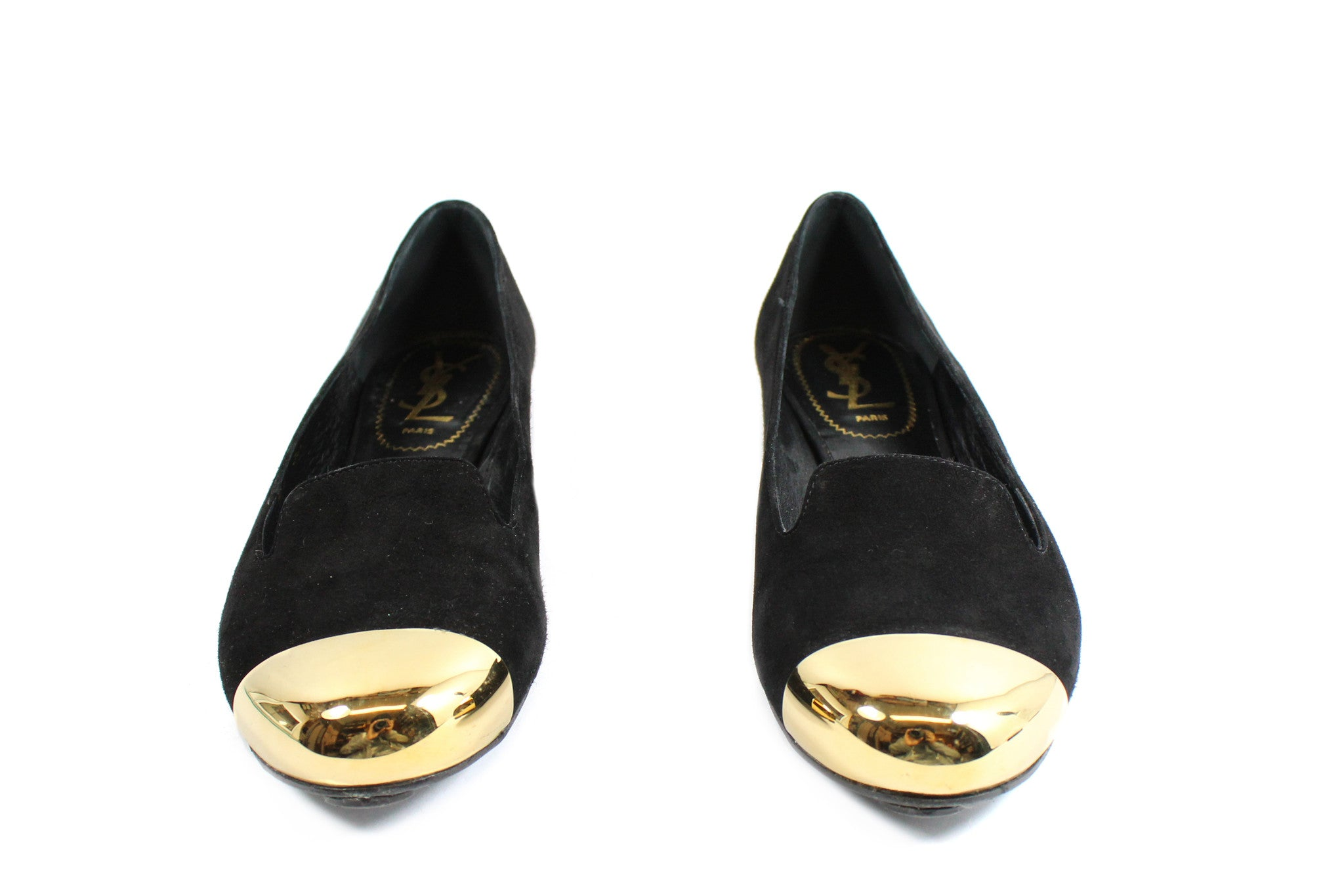 Yves Saint Laurent 'Evalyn' Suede Flats with Gold Cap Toe (Size 36.5) - Encore Consignment - 3