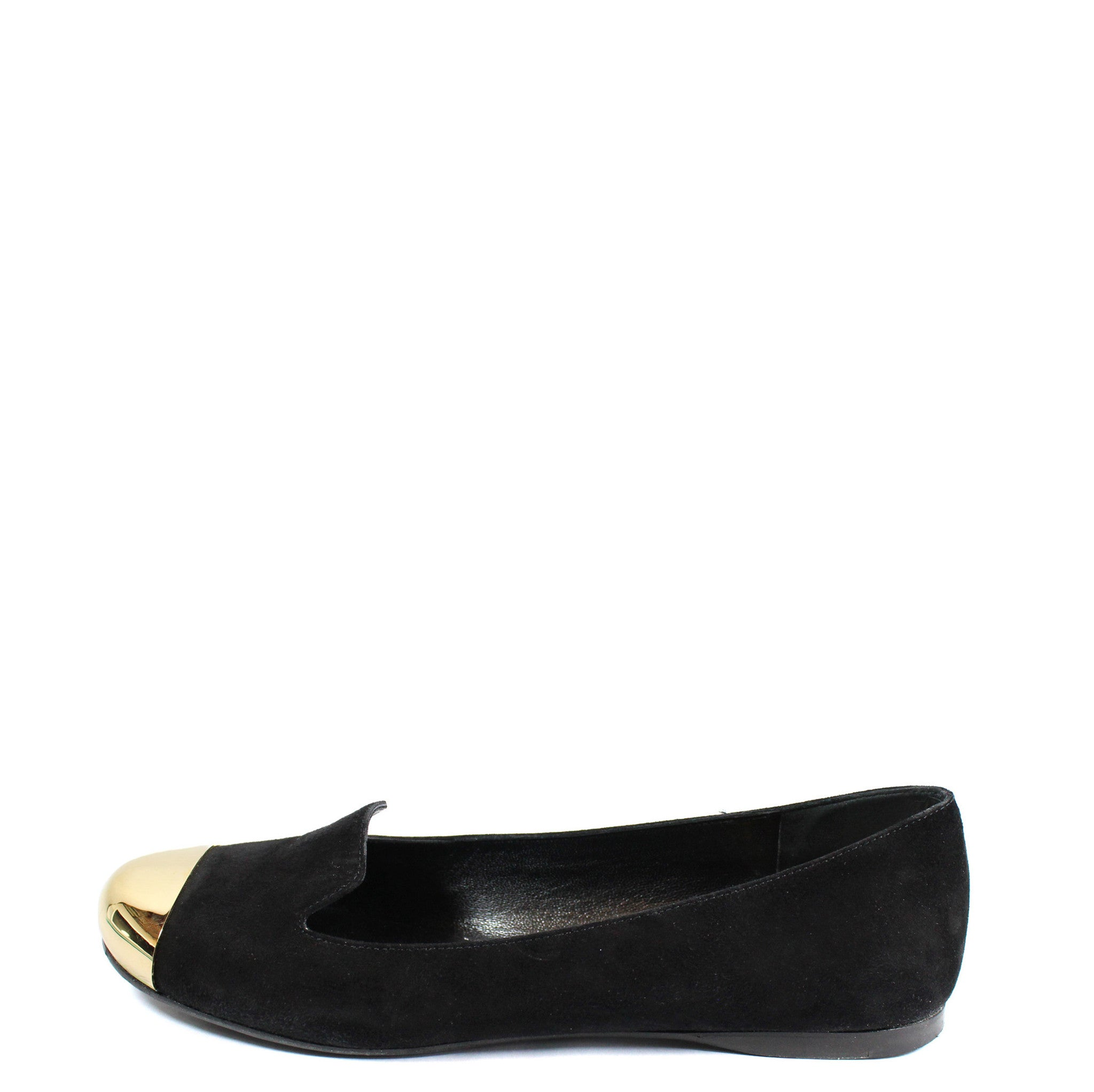 Yves Saint Laurent 'Evalyn' Suede Flats with Gold Cap Toe (Size 36.5) - Encore Consignment - 1