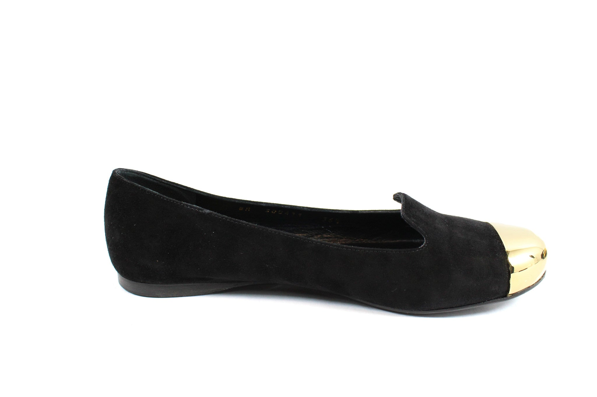 Yves Saint Laurent 'Evalyn' Suede Flats with Gold Cap Toe (Size 36.5) - Encore Consignment - 7