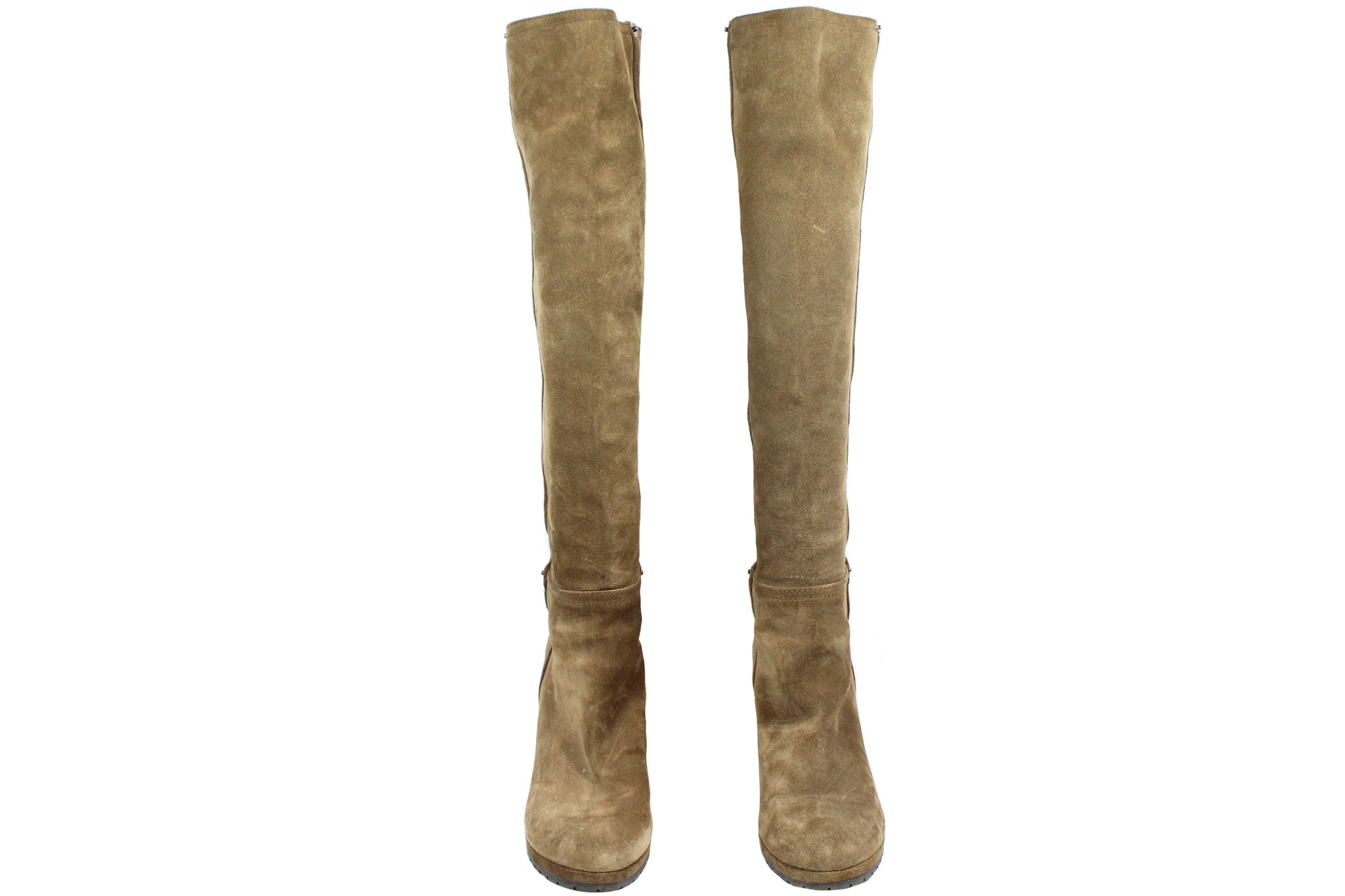 Prada Suede Taupe Wedge Boots (Size 38) - Encore Consignment - 2
