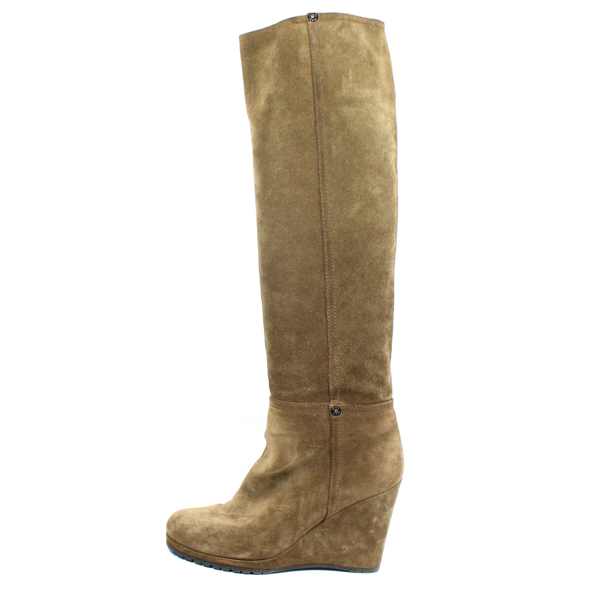 Prada Suede Taupe Wedge Boots (Size 38) - Encore Consignment - 1
