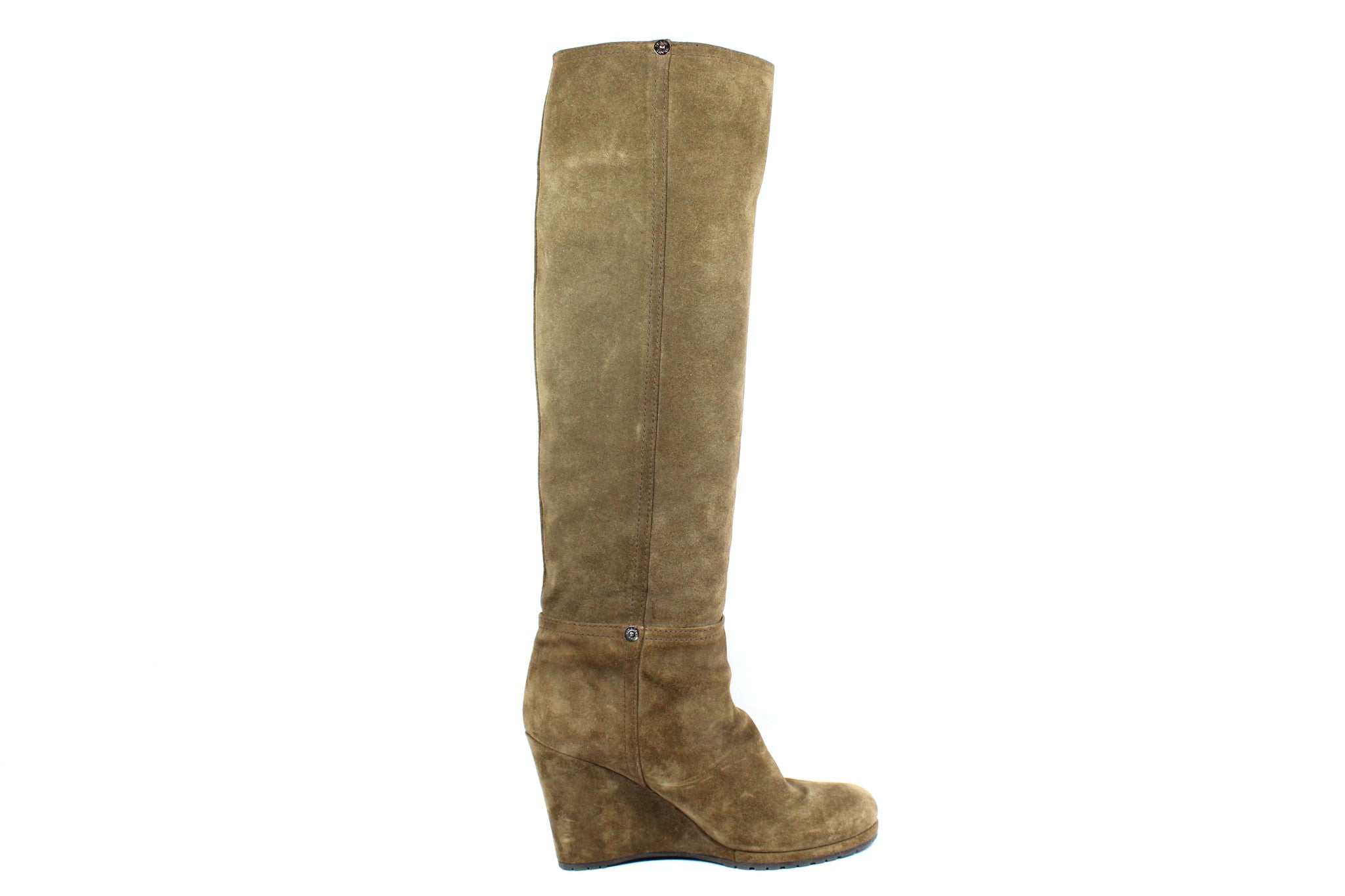 Prada Suede Taupe Wedge Boots (Size 38) - Encore Consignment - 4