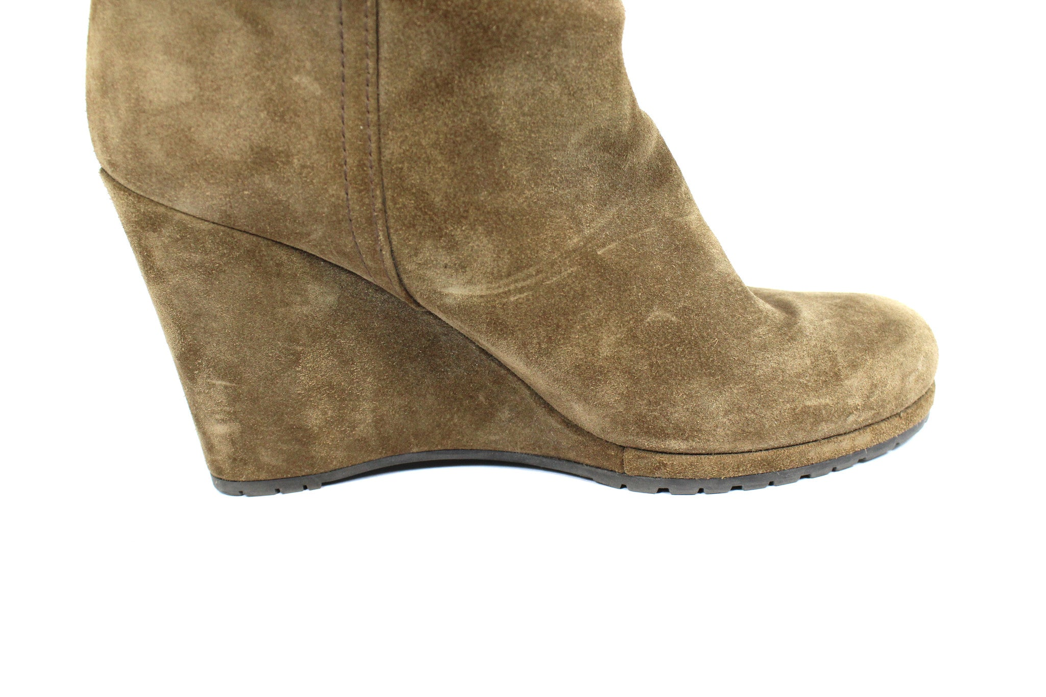 Prada Suede Taupe Wedge Boots (Size 38) - Encore Consignment - 6