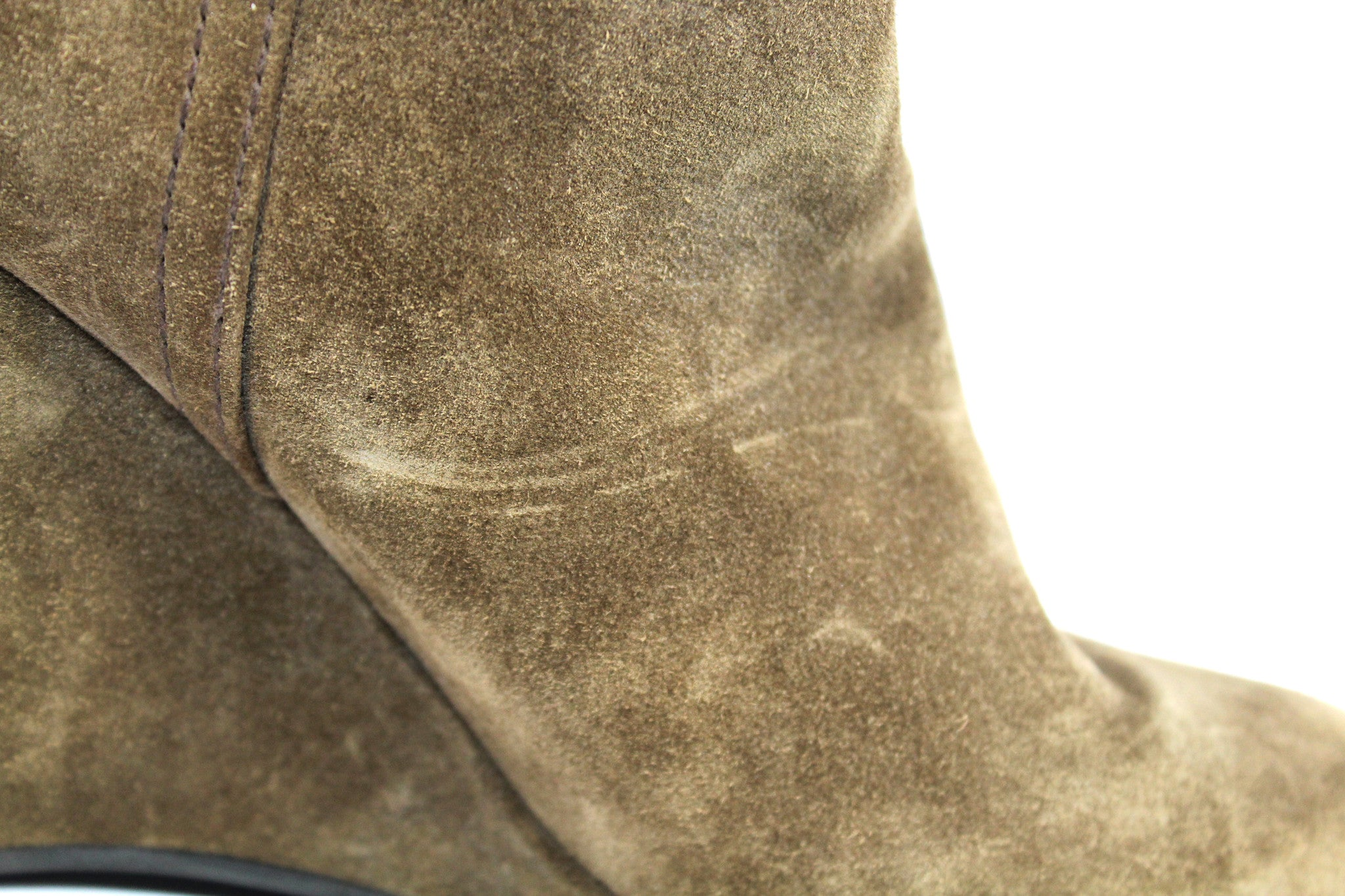 Prada Suede Taupe Wedge Boots (Size 38) - Encore Consignment - 7