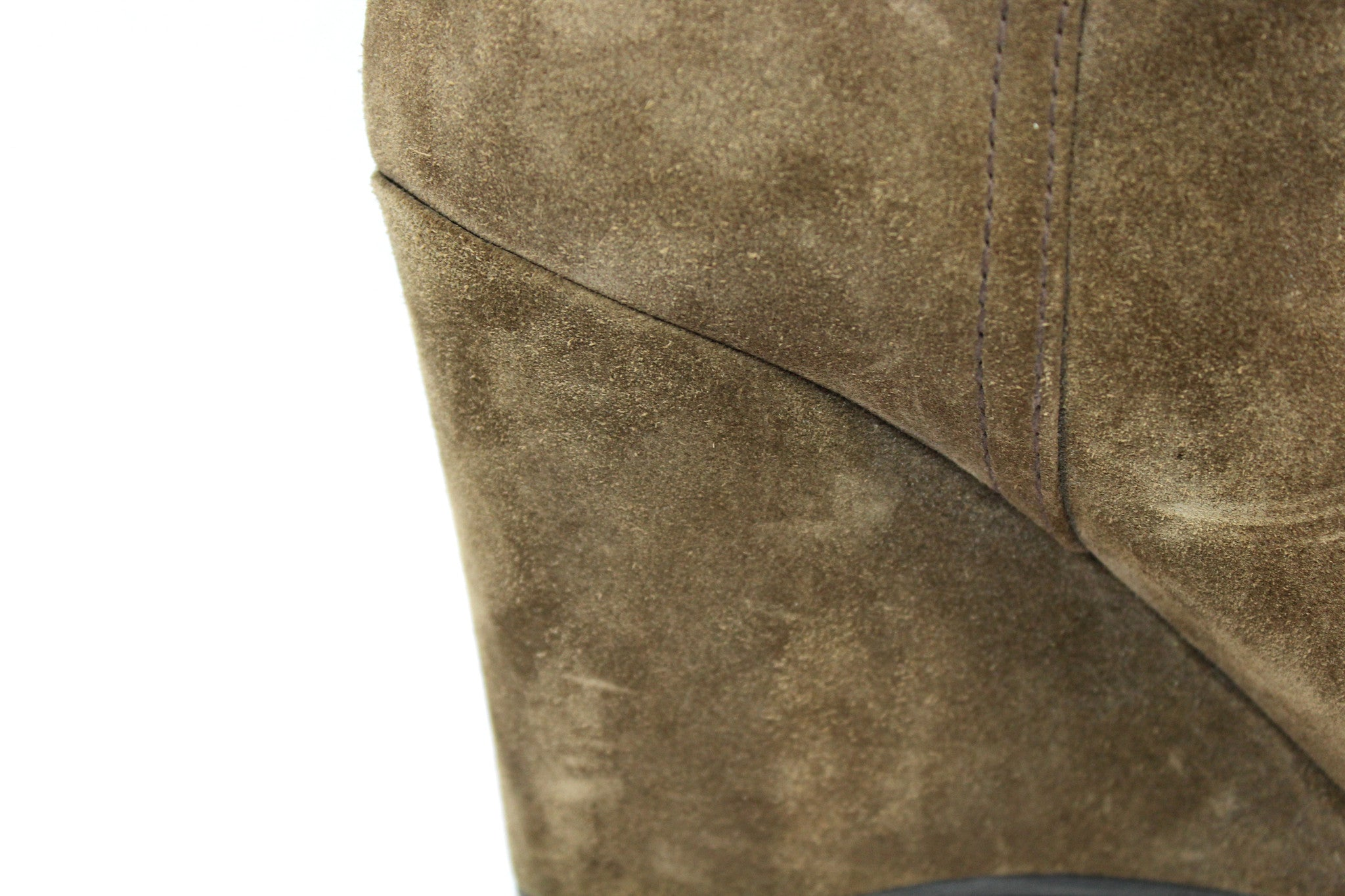 Prada Suede Taupe Wedge Boots (Size 38) - Encore Consignment - 8