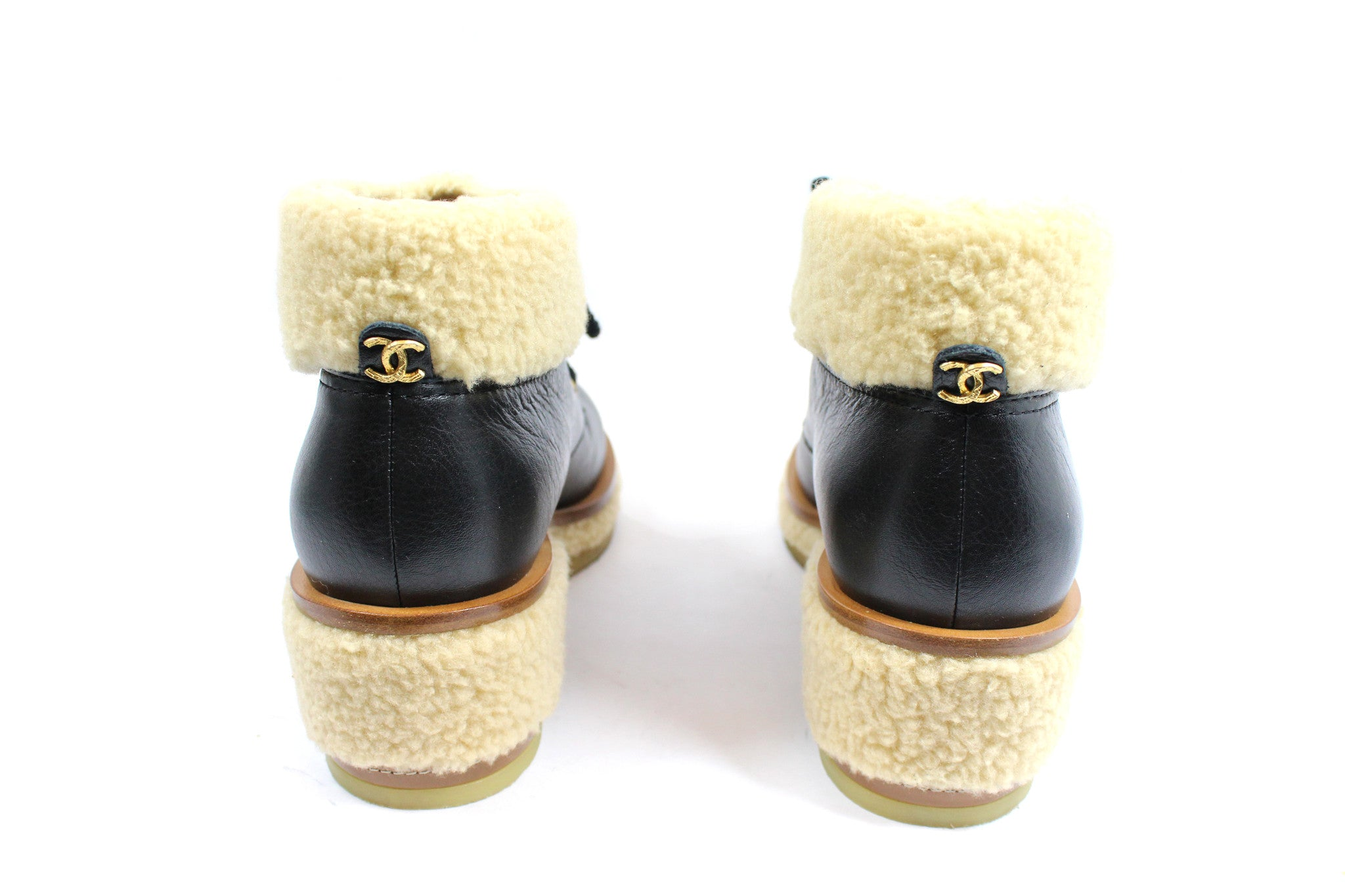 Chanel Leather Lace-Up Booties with Fur Trim (Size 39.5) - Encore Consignment - 4