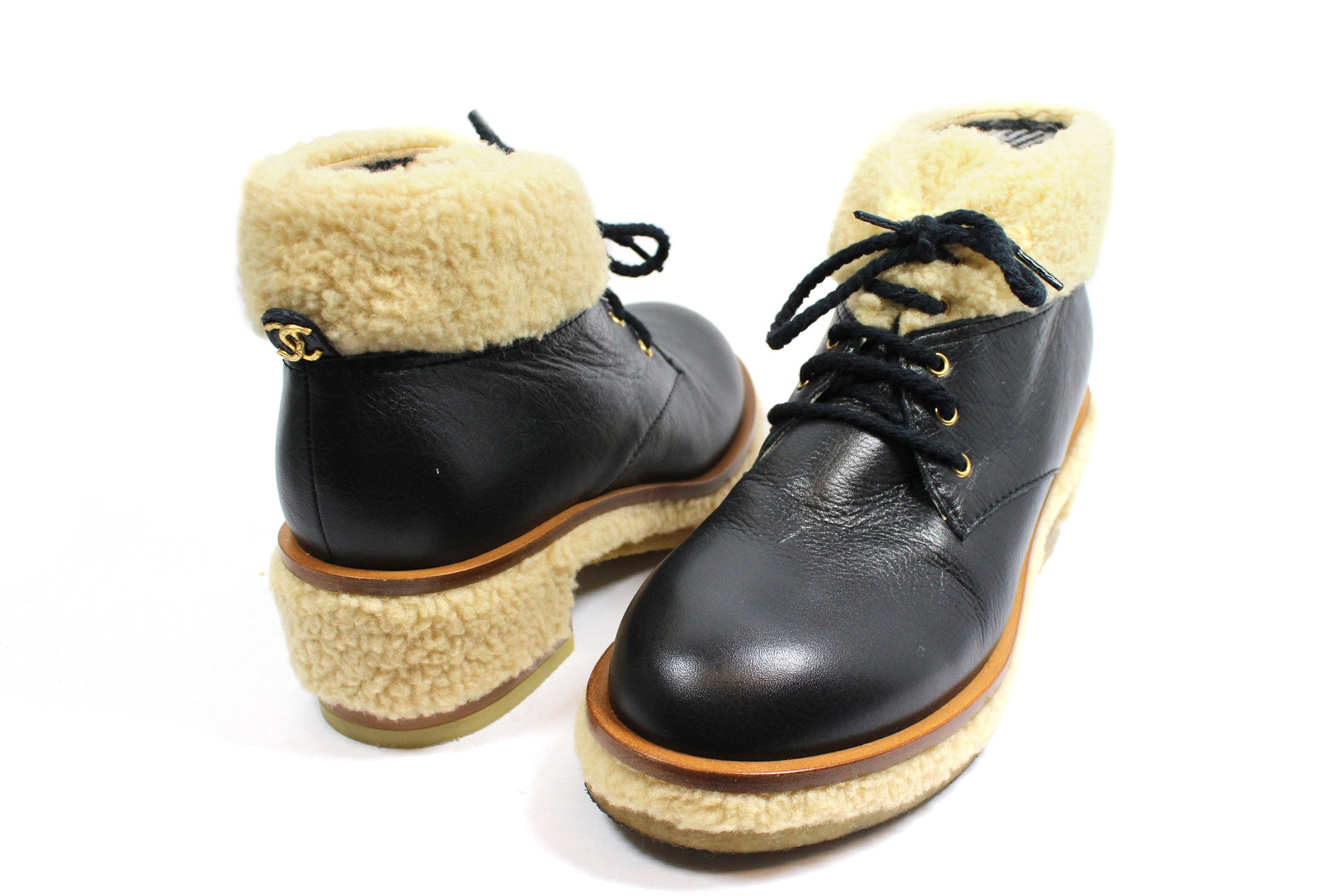 Chanel Leather Lace-Up Booties with Fur Trim (Size 39.5) - Encore Consignment - 2