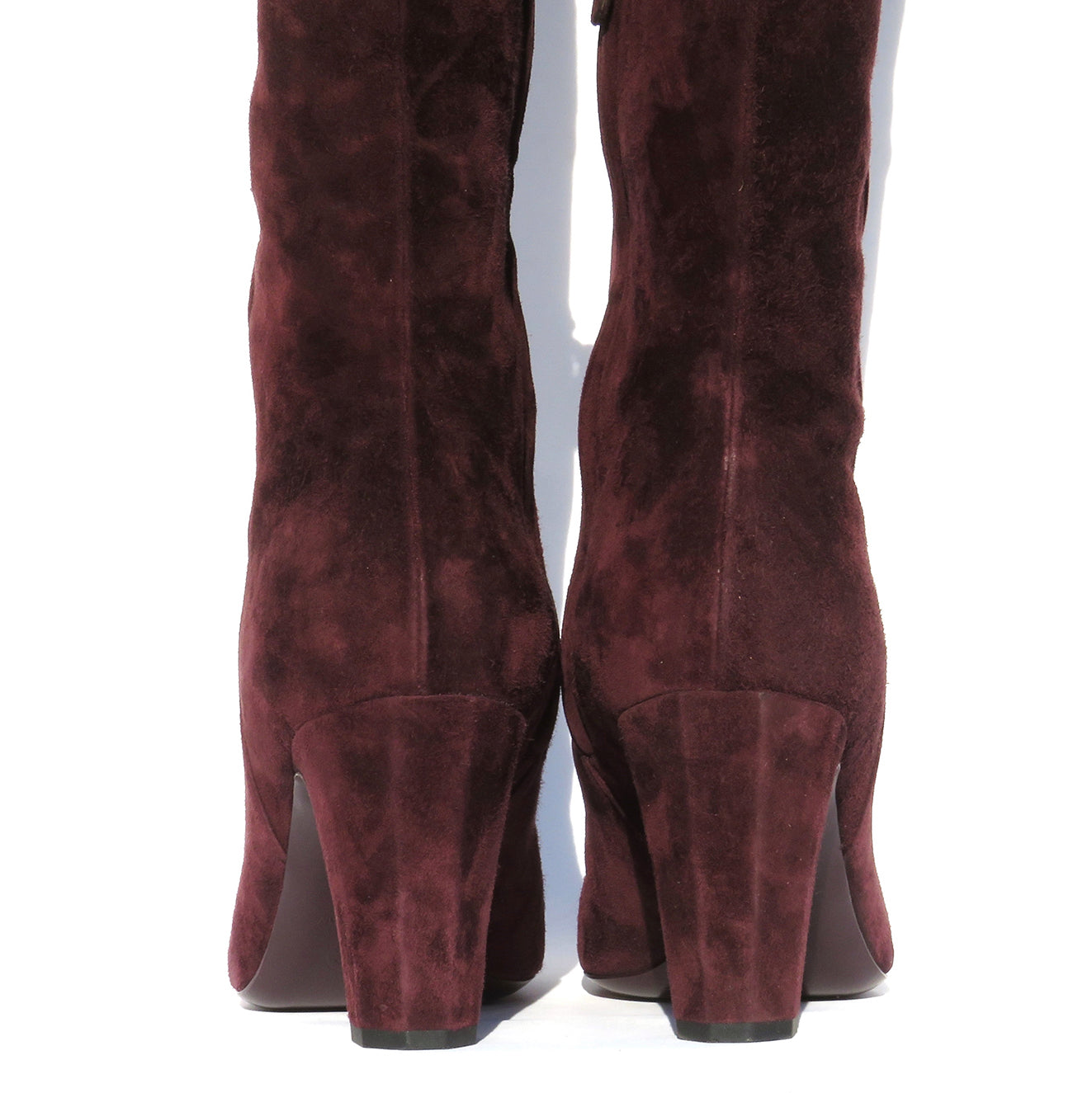 'Sold' CHANEL Bordeaux Burgundy Suede Cap Toe CC Thigh High Over The Knee Tall Boots 39