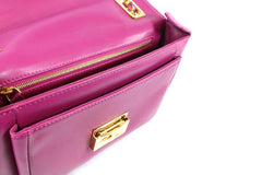 Fendi Cyclamen Pink Leather Logo Buckle 'Be Baguette' Bag - Encore Consignment - 6