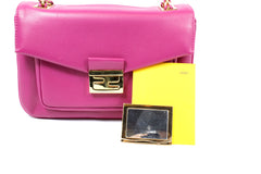 Fendi Cyclamen Pink Leather Logo Buckle 'Be Baguette' Bag - Encore Consignment - 8