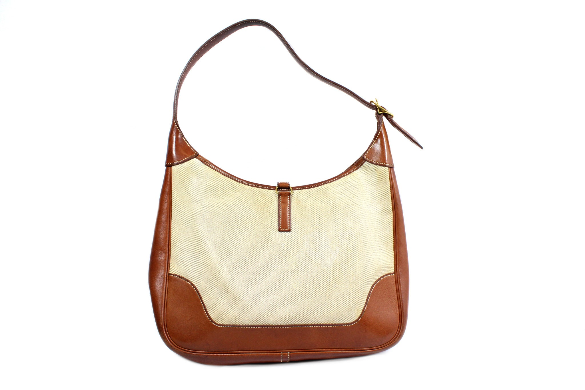 Hermes Beige Canvas 'Trim II 31' Shoulder Bag - Encore Consignment - 1