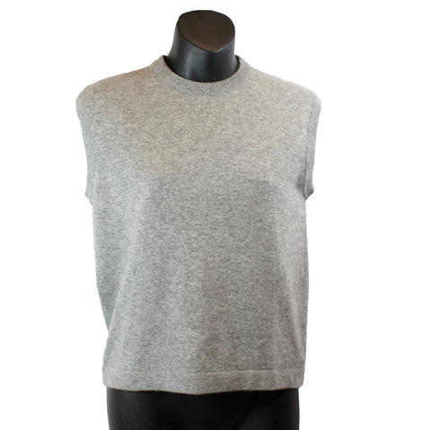 Hermes Grey Cashmere  Sleeveless Crewneck Sweater (Size L) - Encore Consignment - 1
