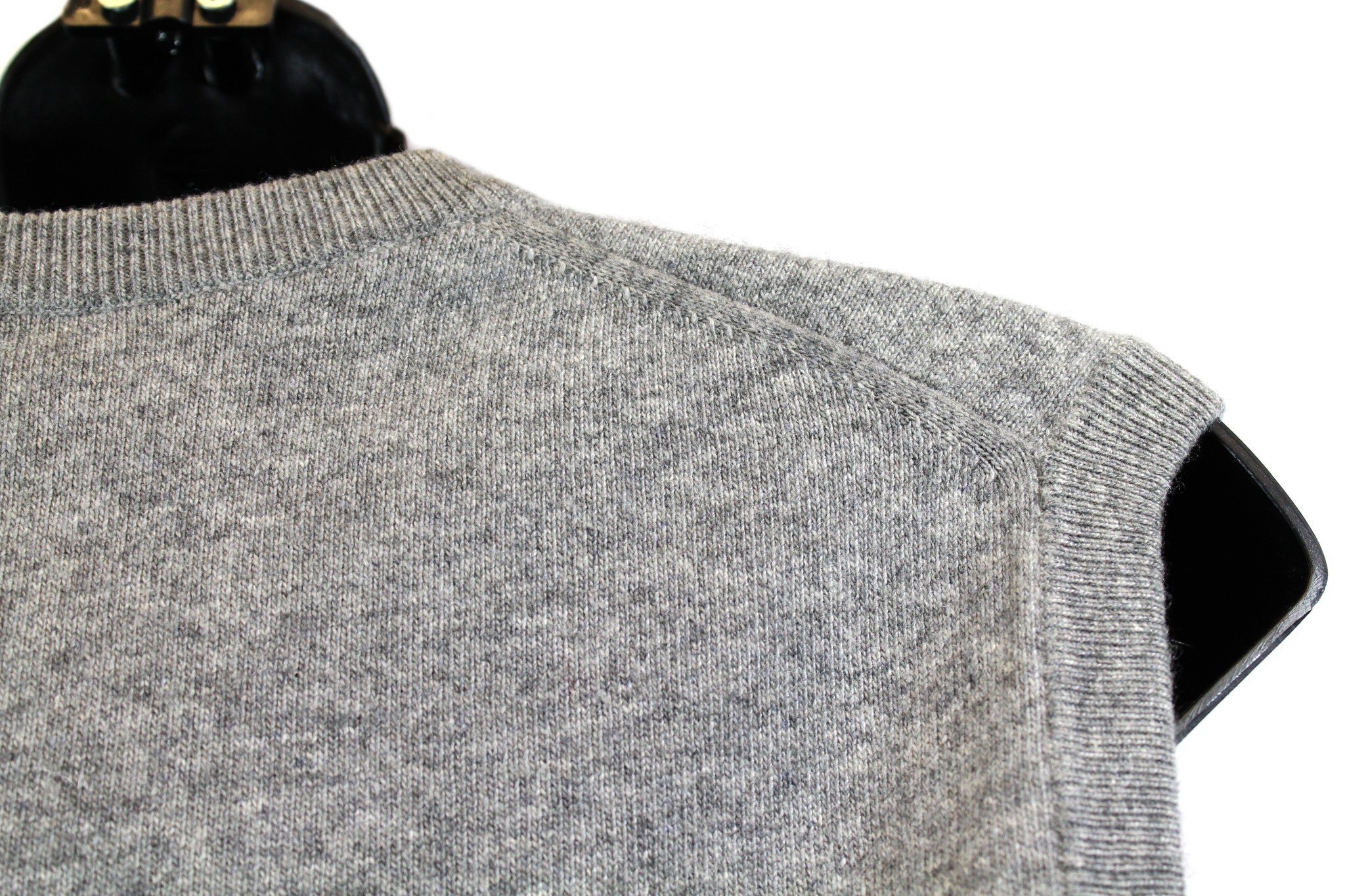 Hermes Grey Cashmere  Sleeveless Crewneck Sweater (Size L) - Encore Consignment - 5