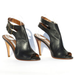 MANOLO BLAHNIK Black Leather Double Buckle Wood Stacked Heel Sandals Pumps 36.5