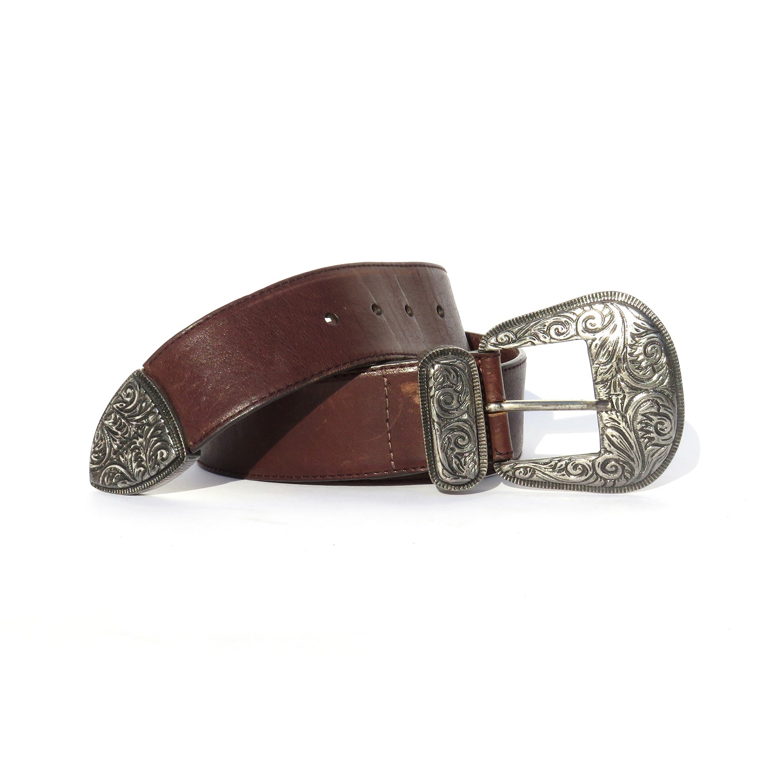ETRO Dark Brown Leather Peg In Hole Silver Ornate Buckle Tip Waist Belt 85cm 32""