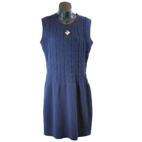 Chanel Sleeveless Navy Dress w/ Floral Grid & Sequin Detail (Size 40) - Encore Consignment - 1