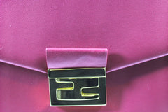 Fendi Cyclamen Pink Leather Logo Buckle 'Be Baguette' Bag