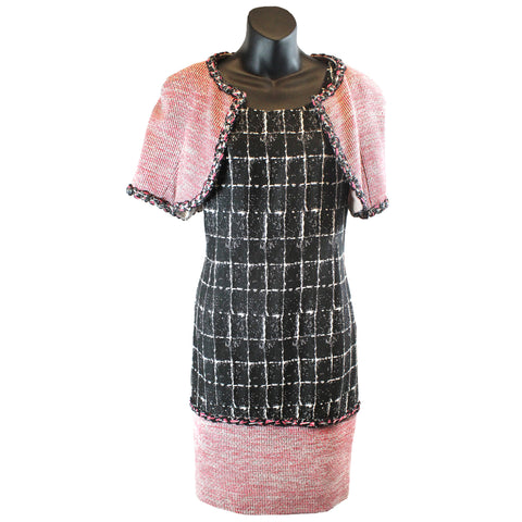 'SOLD' Chanel Sleeveless Tweed Sheath Dress and Bolero Jacket Set (Size 44) - Encore Consignment - 1