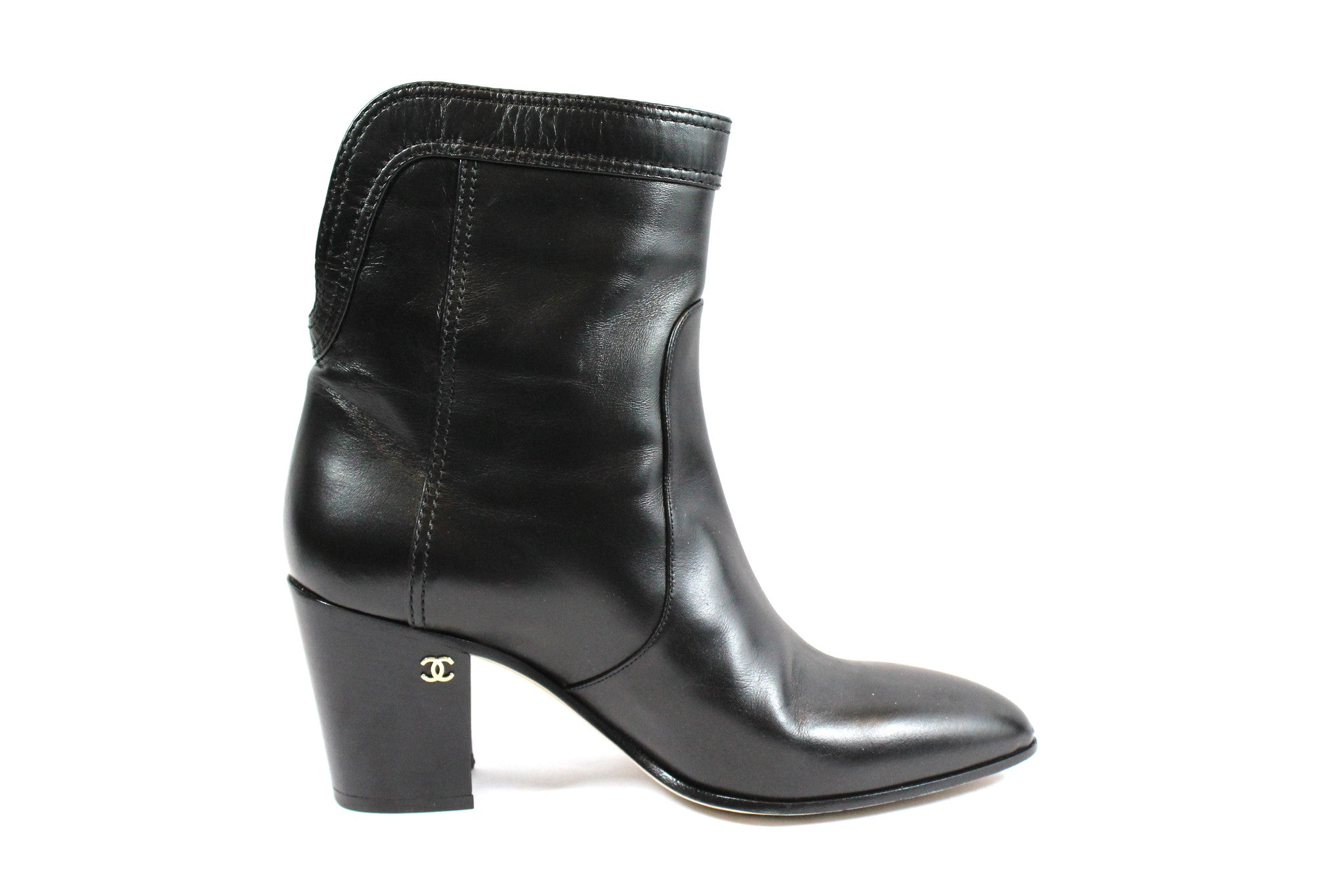 Chanel Calfskin Ankle Boots (Size 38) - Encore Consignment - 5