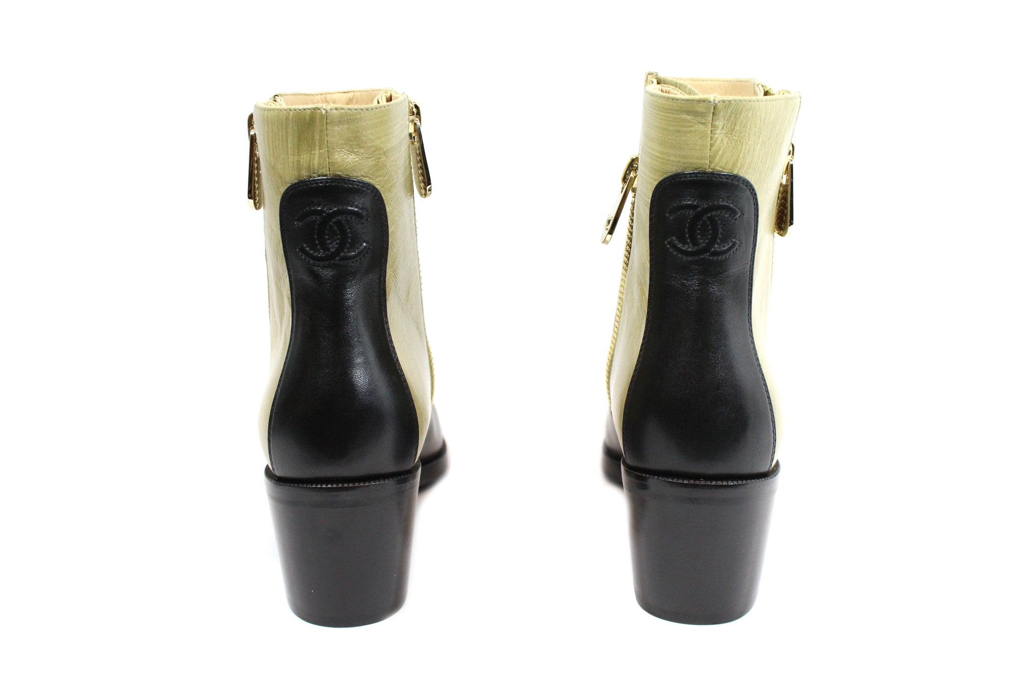 Chanel Two-tone Short Calfskin Boots (Size 38) - Encore Consignment - 2