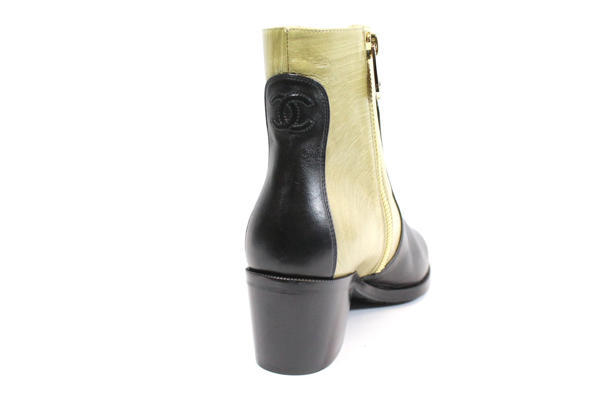 Chanel Two-tone Short Calfskin Boots (Size 38) - Encore Consignment - 4