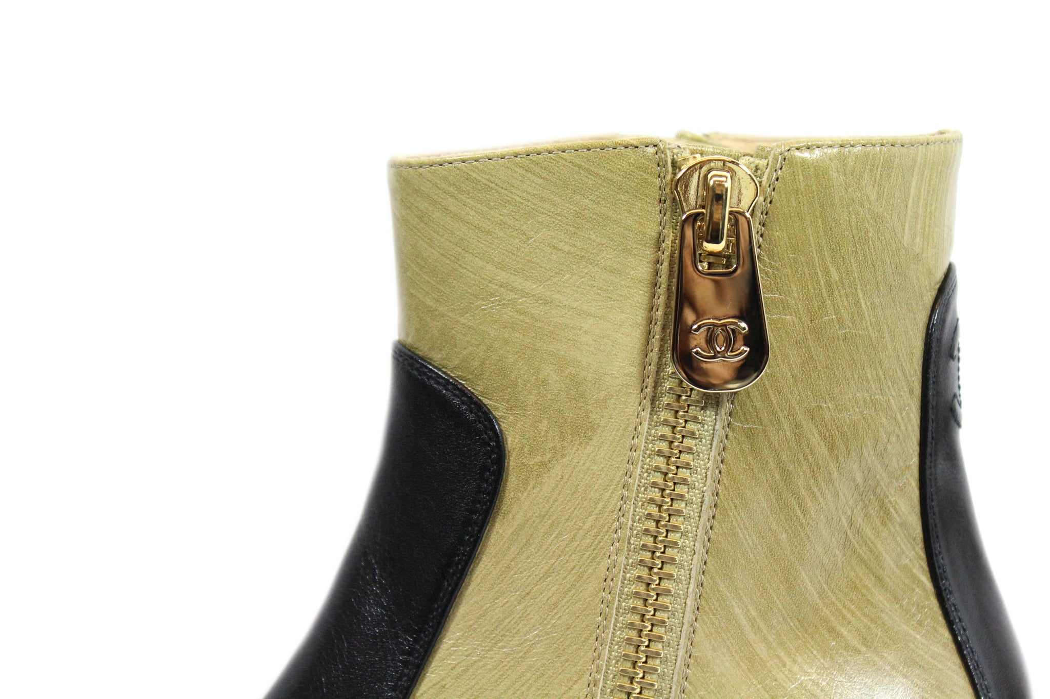 Chanel Two-tone Short Calfskin Boots (Size 38) - Encore Consignment - 5