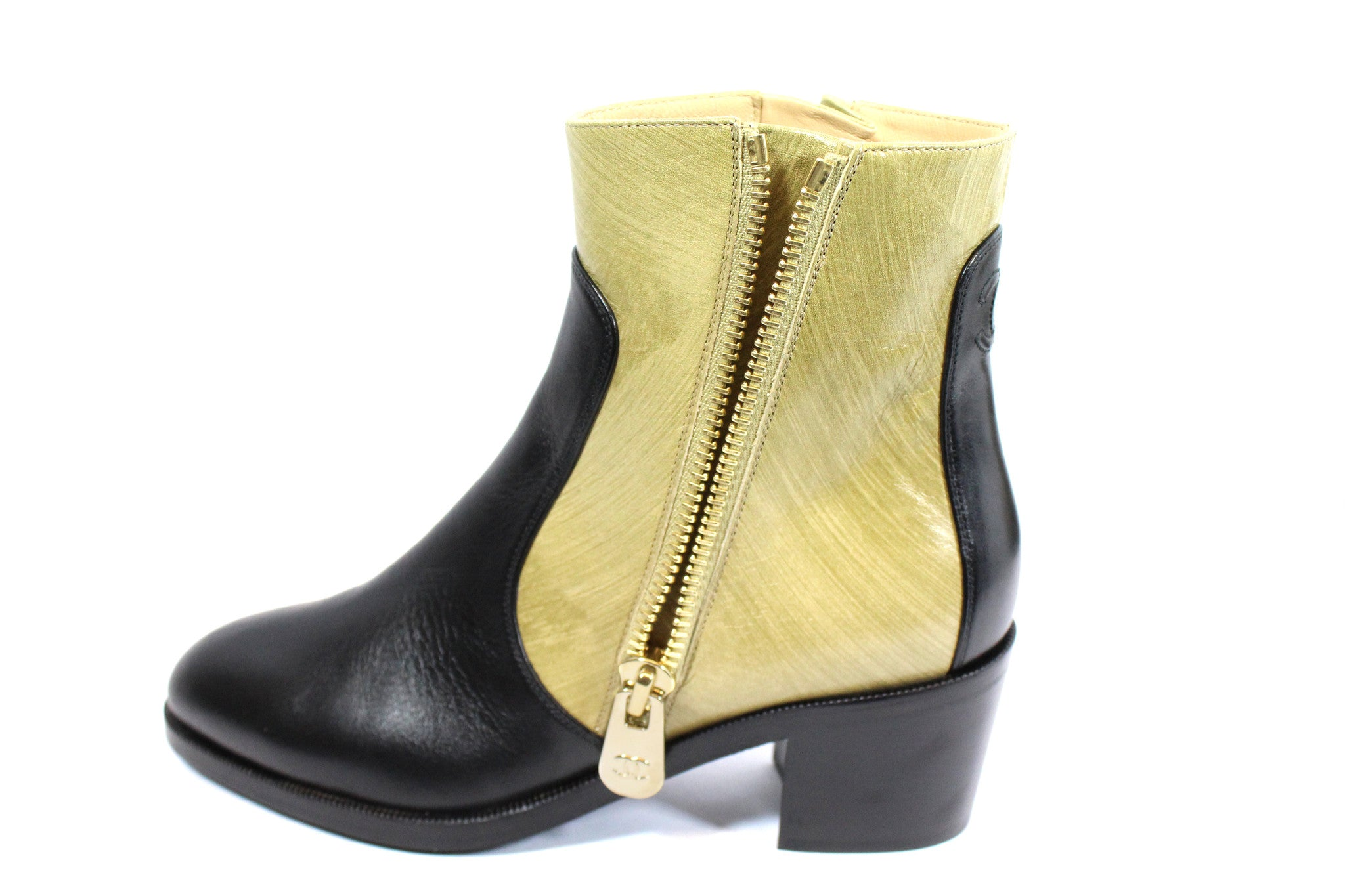 Chanel Two-tone Short Calfskin Boots (Size 38) - Encore Consignment - 6