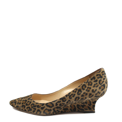 Manolo Blahnik Leopard Suede Wedge Pumps (Size 40) - Encore Consignment - 1
