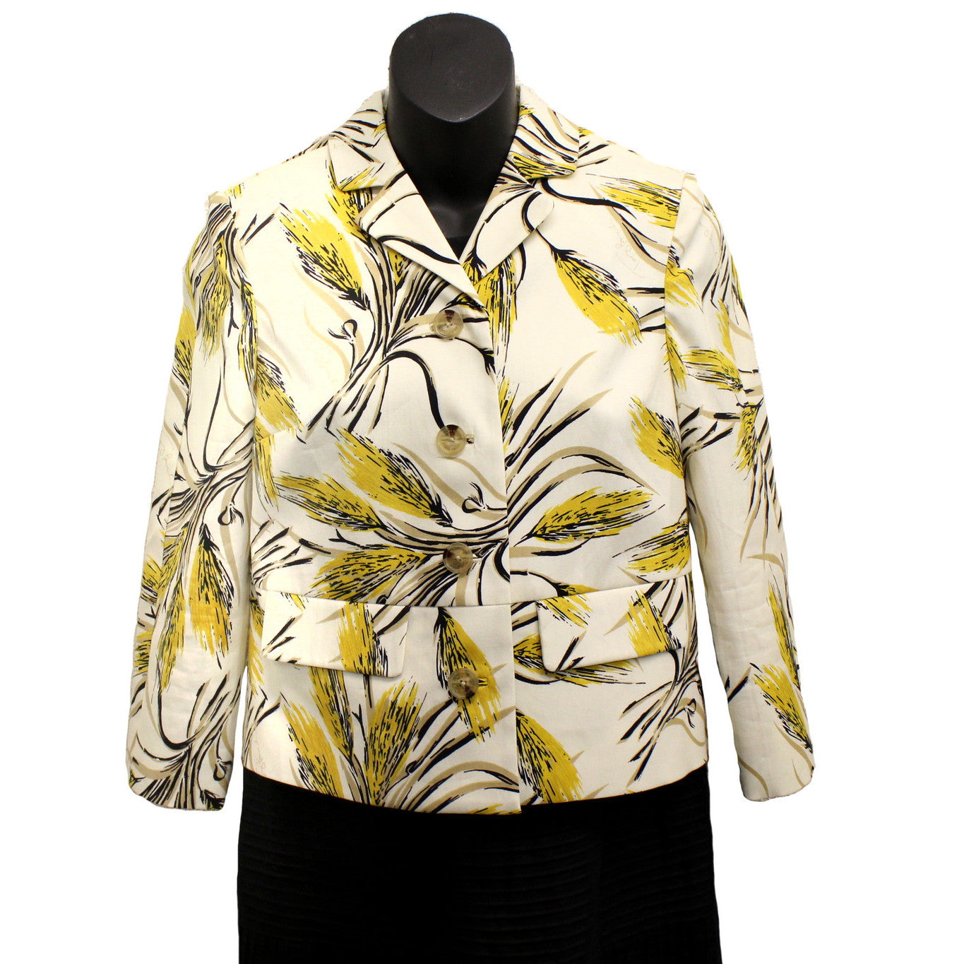 Tory Burch Yellow Wheat 'Rimon' Printed Jacket (Size 2) - Encore Consignment - 1