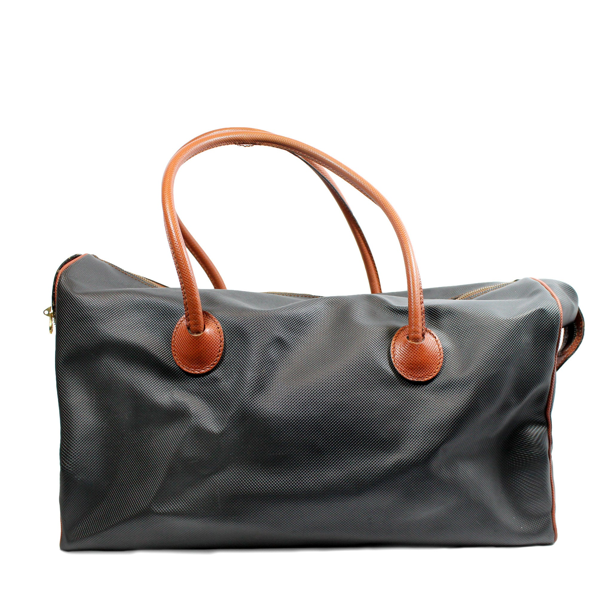 Bottega Veneta Black and Copper Leather Duffle Bag - Encore Consignment - 1